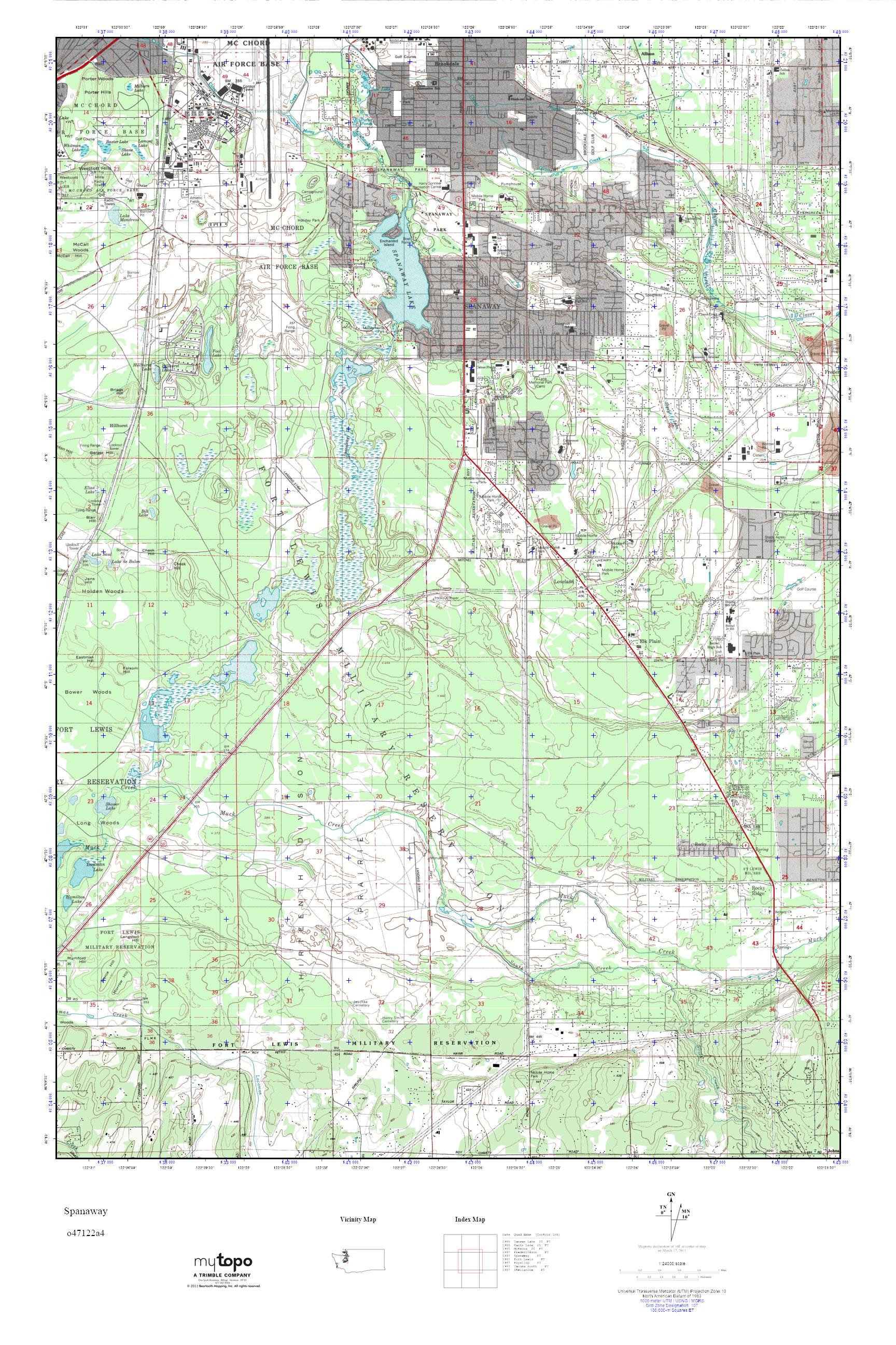 Mytopo Spanaway Washington Usgs Quad Topo Map