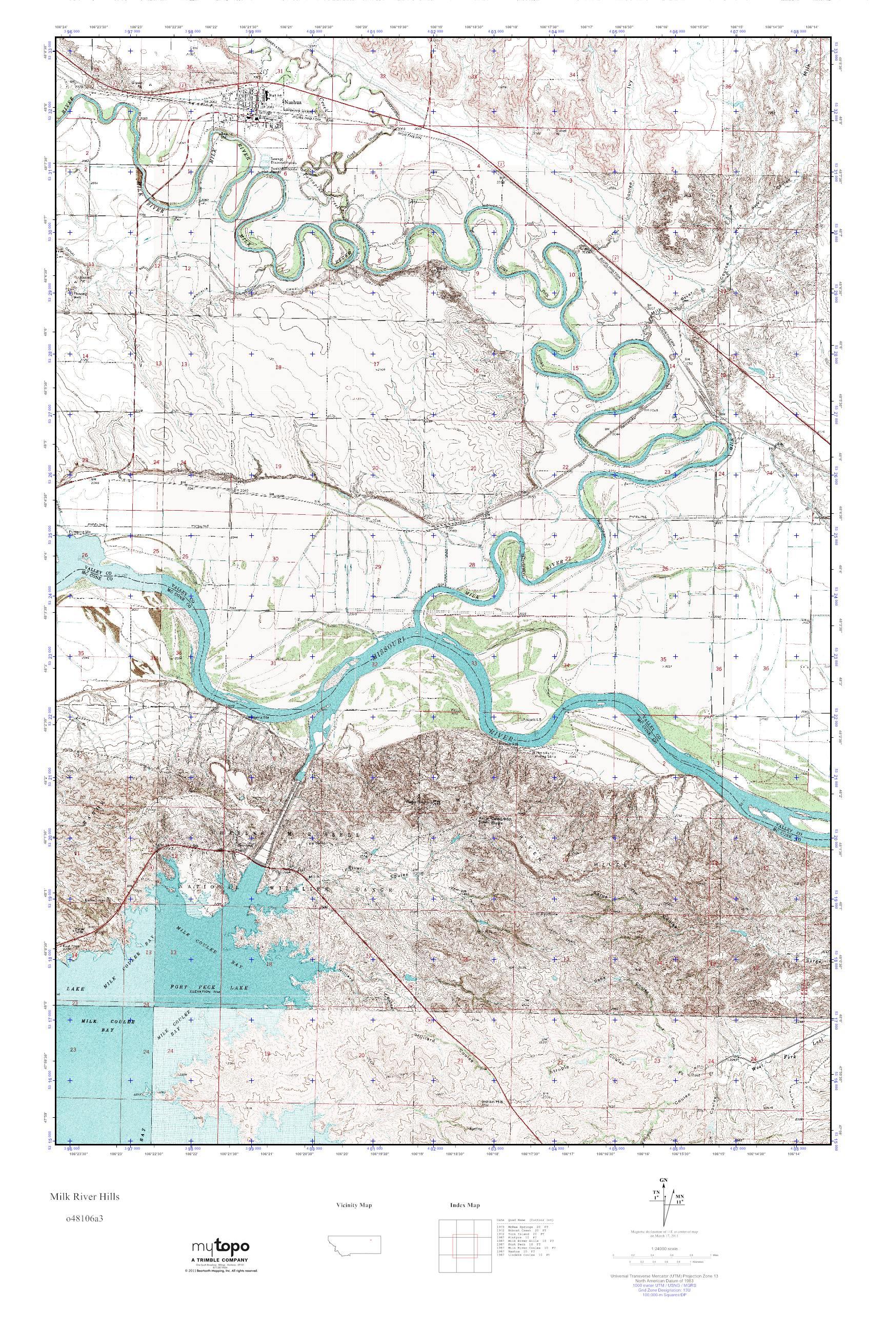 Mytopo Milk River Hills Montana Usgs Quad Topo Map
