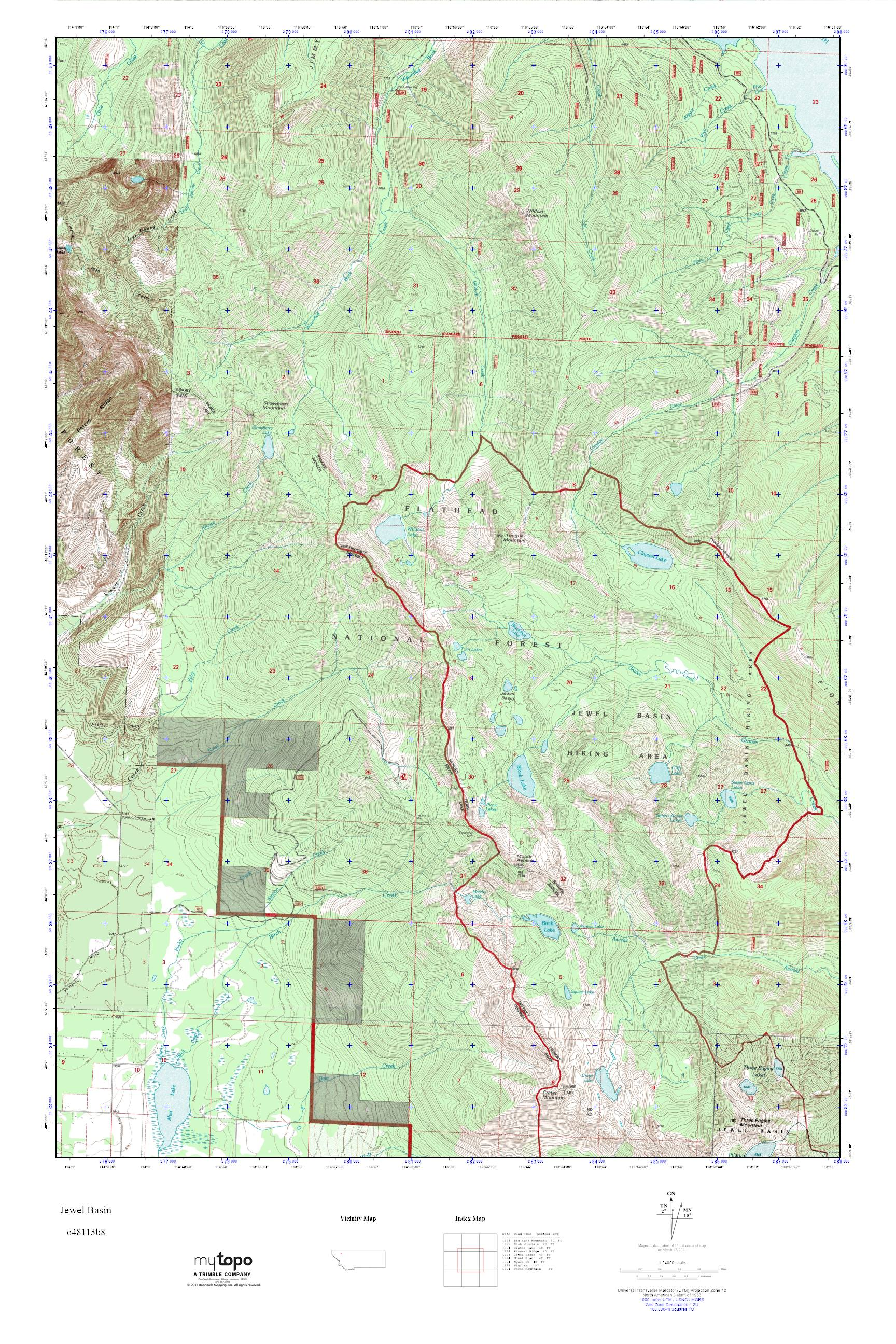 Mytopo Jewel Basin Montana Usgs Quad Topo Map