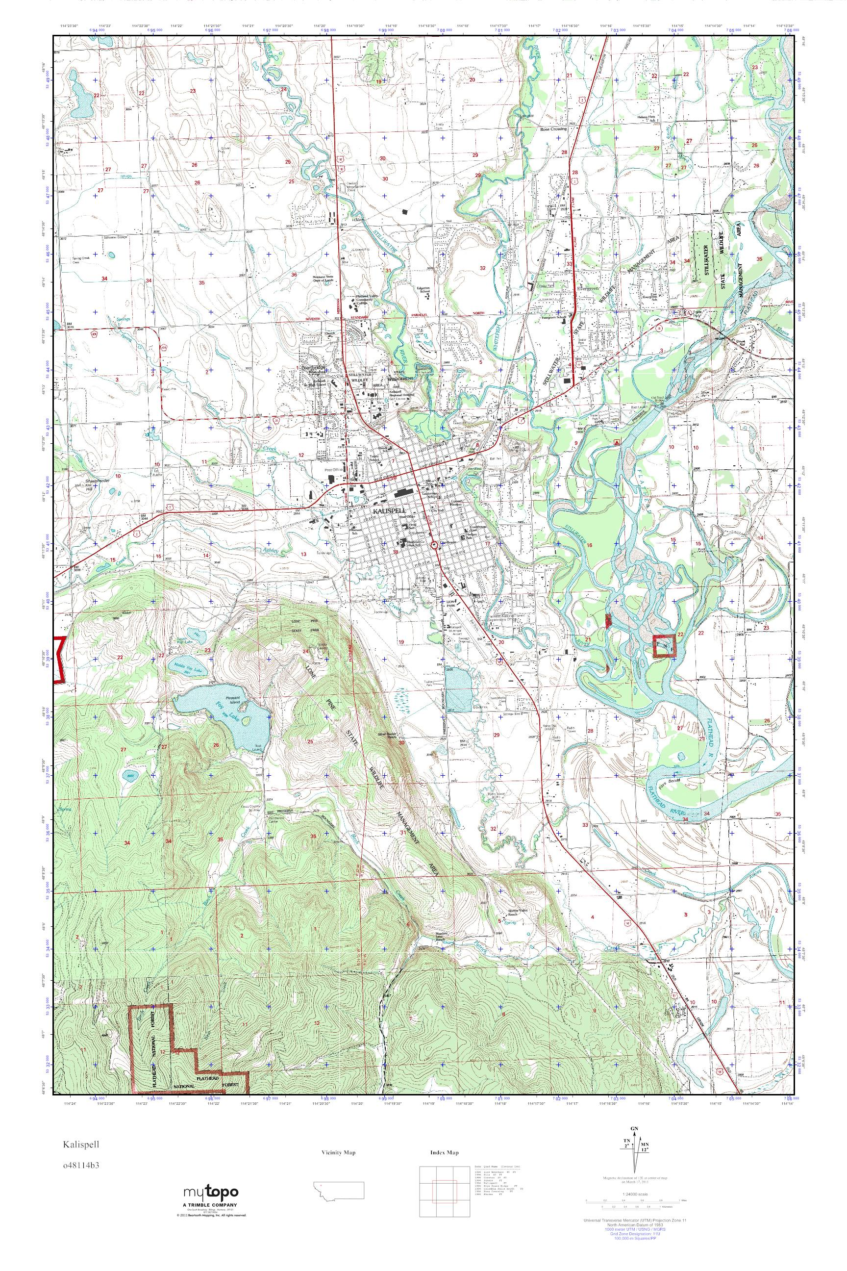 Mytopo Kalispell Montana Usgs Quad Topo Map