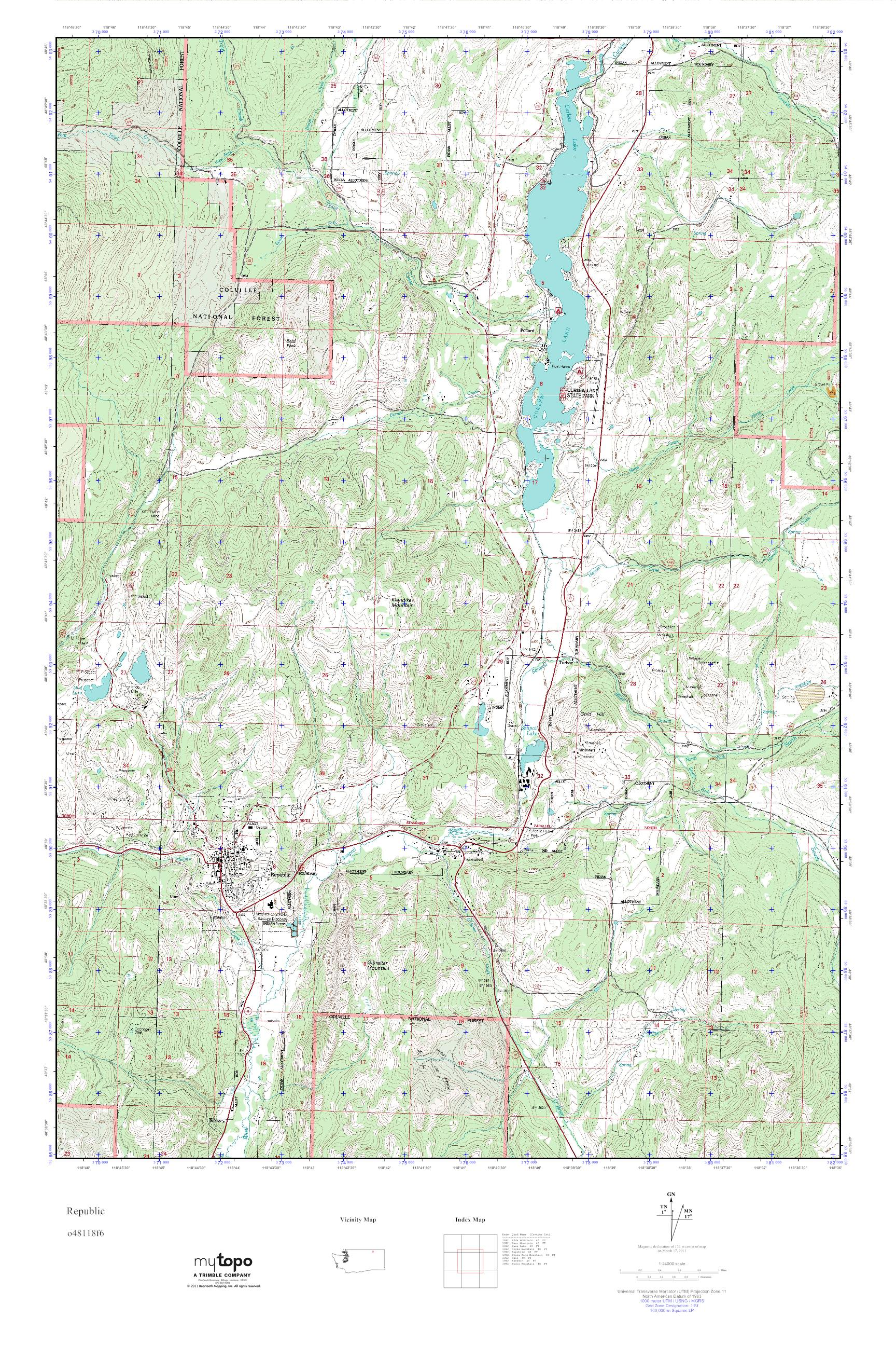 Mytopo Republic Washington Usgs Quad Topo Map