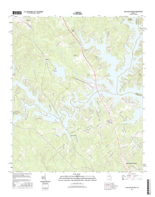 Map Of West Georgia.Mytopo Lake Sinclair West Georgia Usgs Quad Topo Map