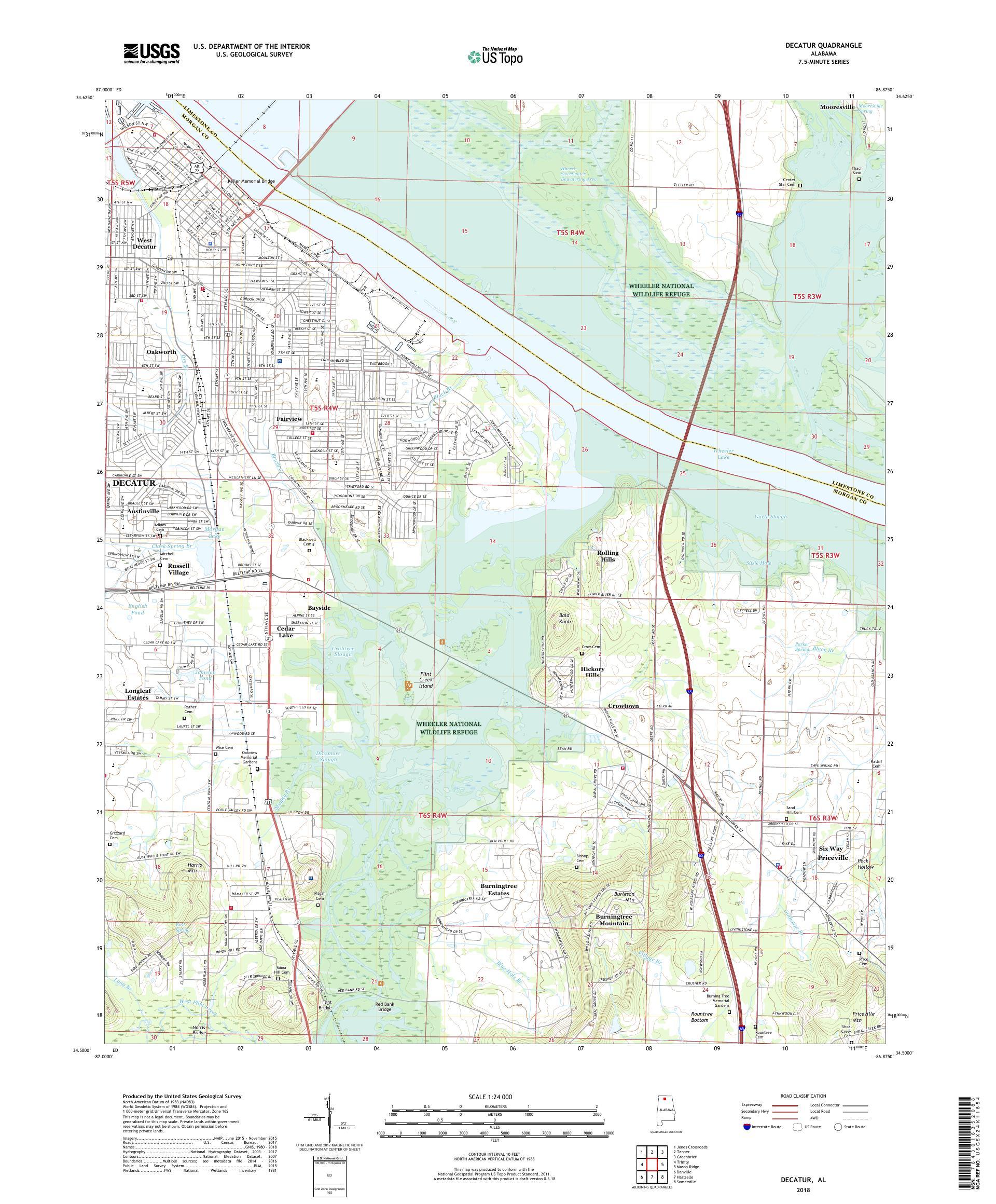 MyTopo Decatur, Alabama USGS Quad Topo Map