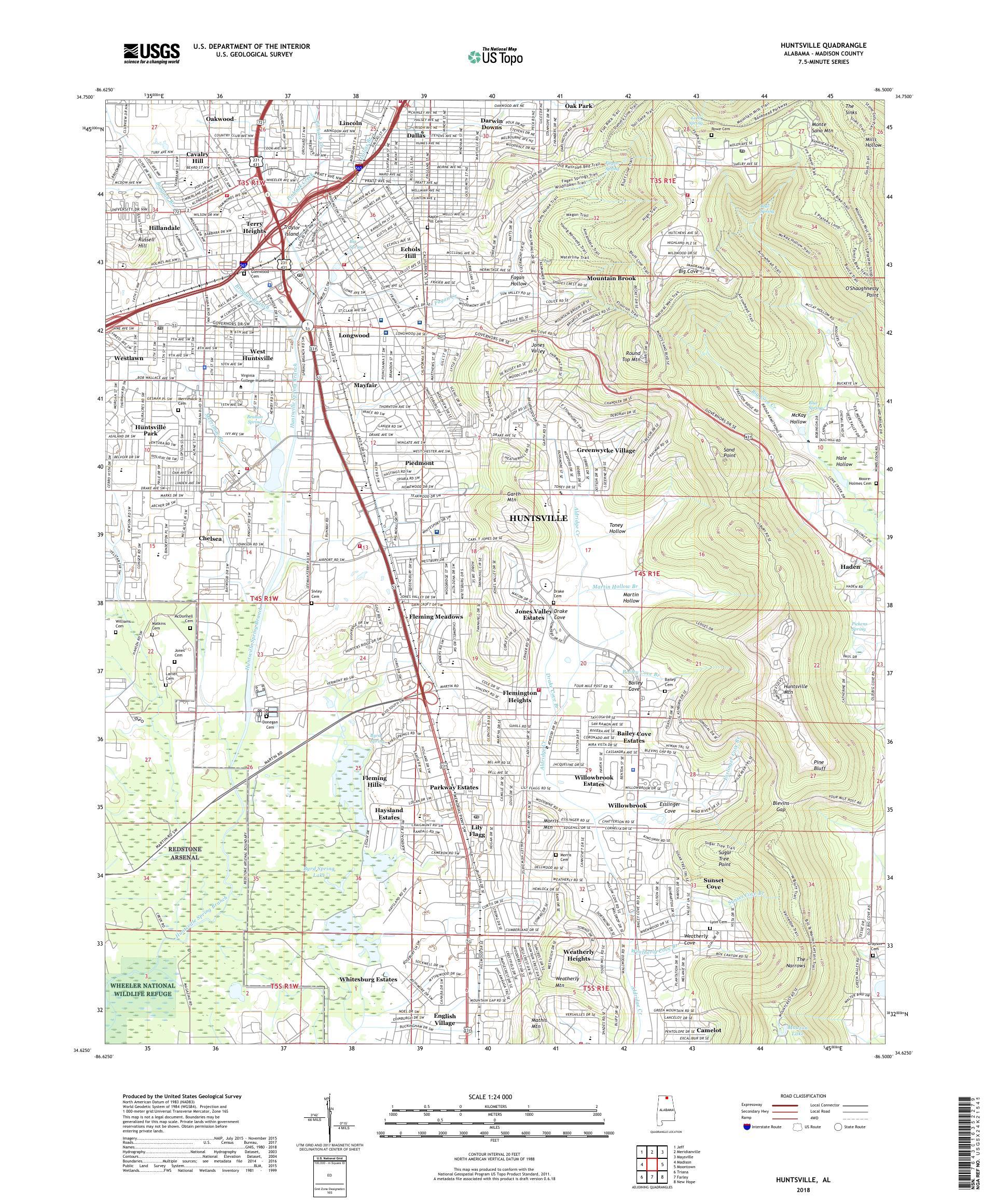 MyTopo Huntsville, Alabama USGS Quad Topo Map
