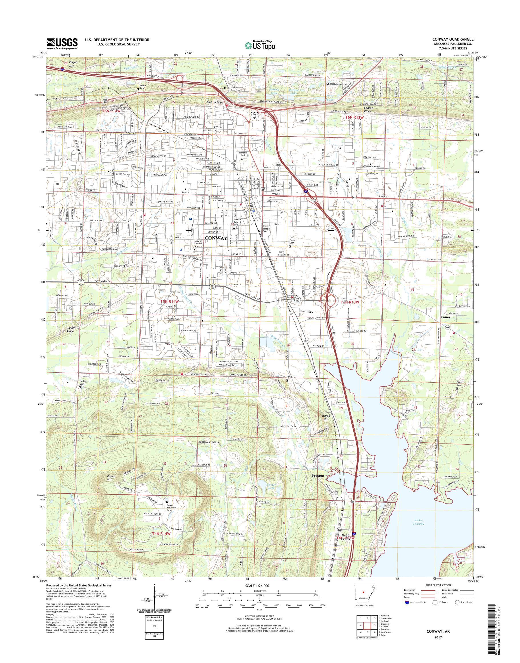 map of conway arkansas Mytopo Conway Arkansas Usgs Quad Topo Map map of conway arkansas