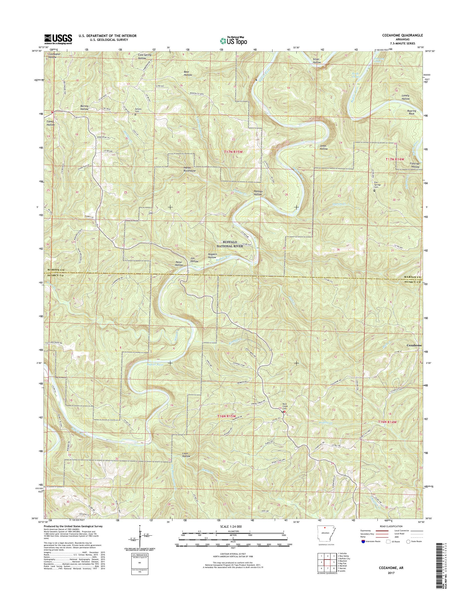 MyTopo Cozahome, Arkansas USGS Quad Topo Map