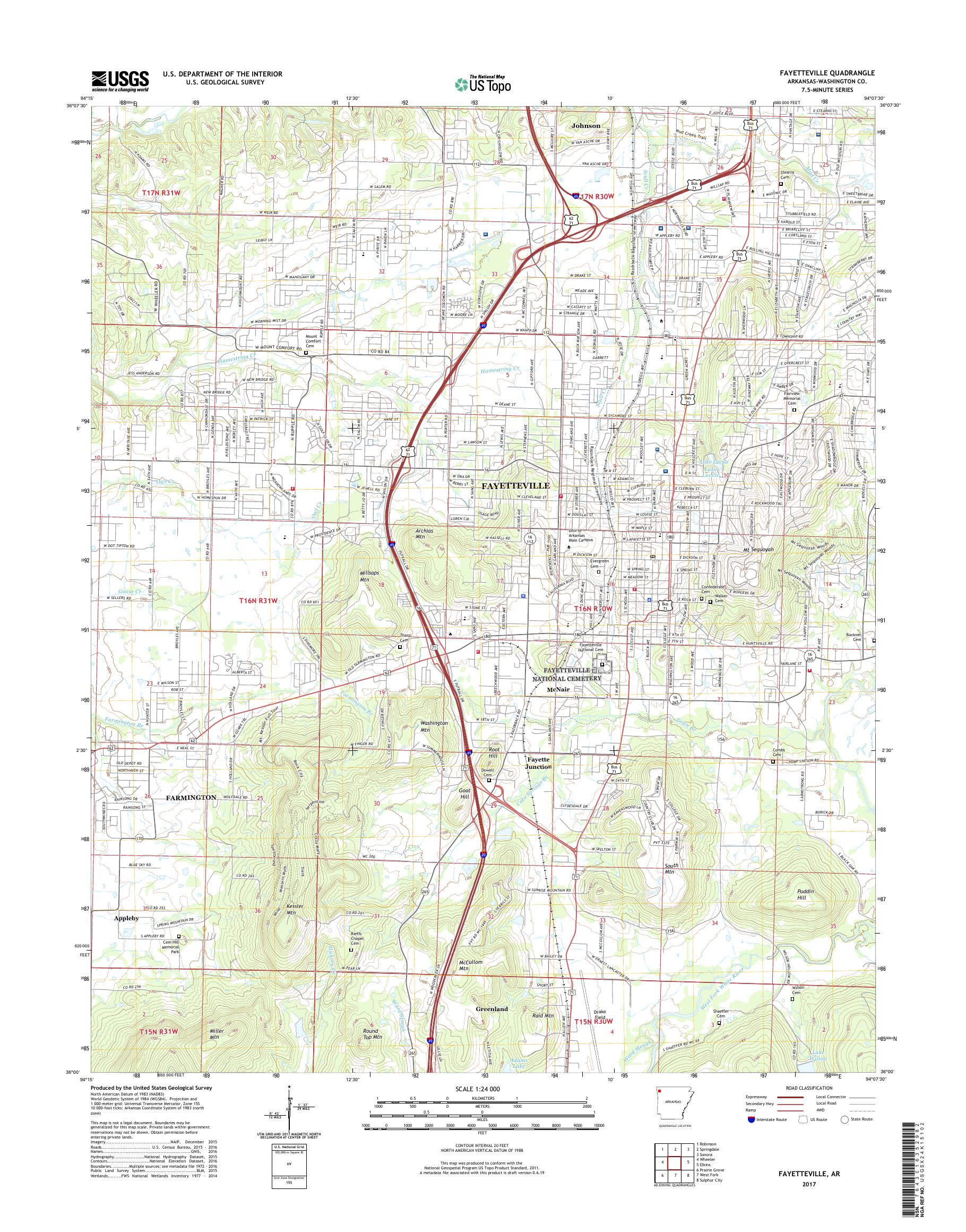 MyTopo Fayetteville, Arkansas USGS Quad Topo Map