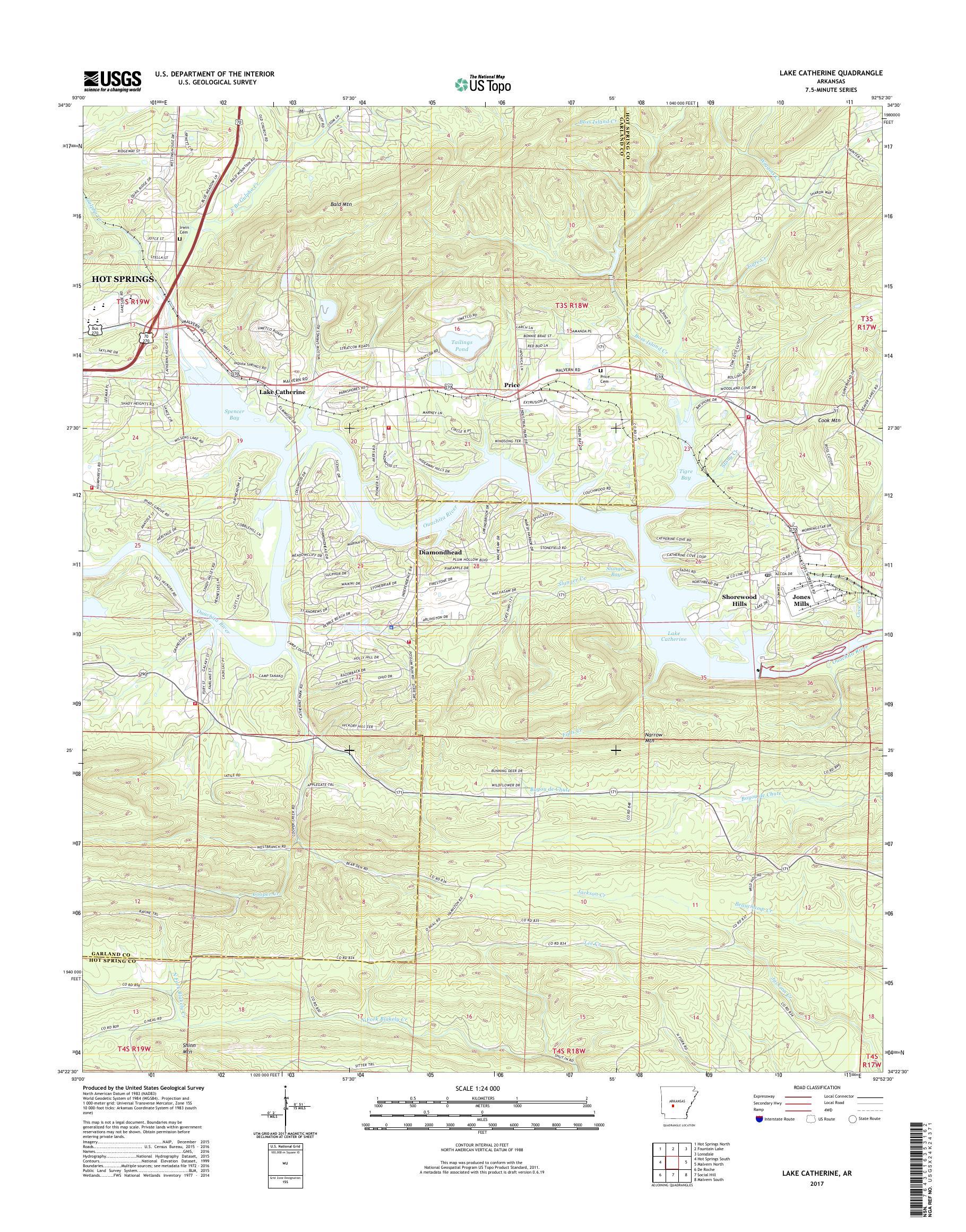 MyTopo Lake Catherine, Arkansas USGS Quad Topo Map