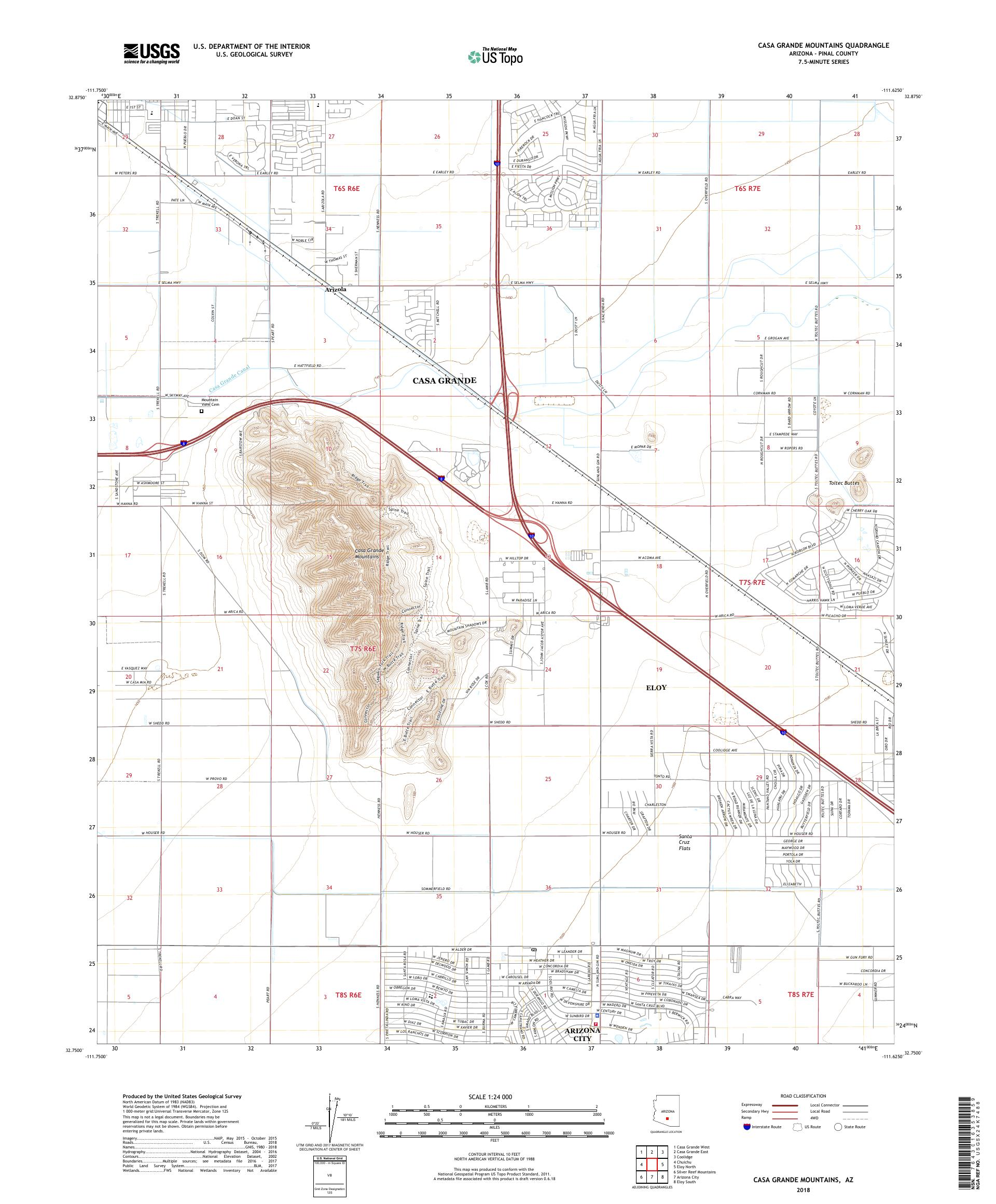 MyTopo Casa Grande Mountains, Arizona USGS Quad Topo Map