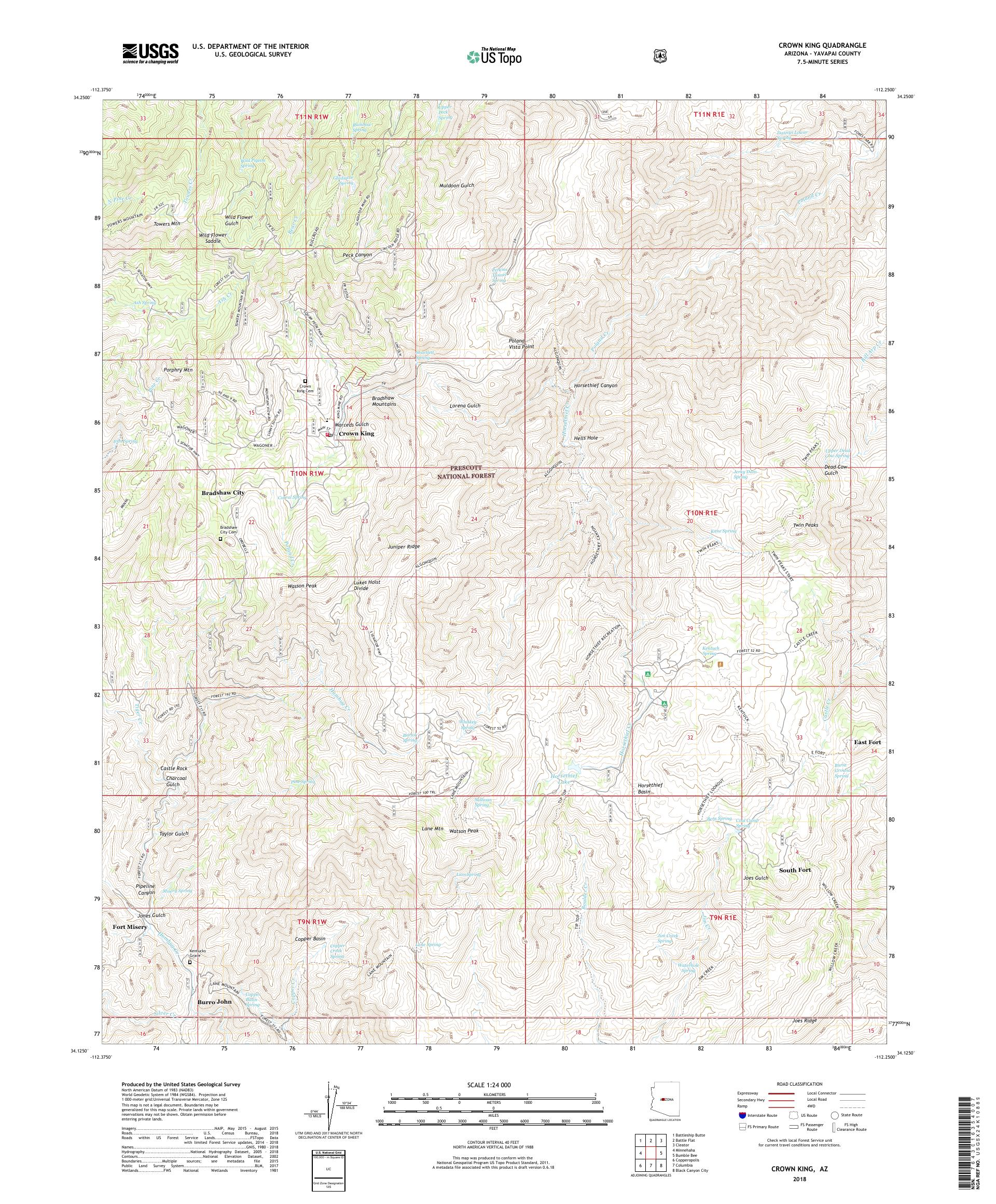Map Of Crown King Arizona.Mytopo Crown King Arizona Usgs Quad Topo Map