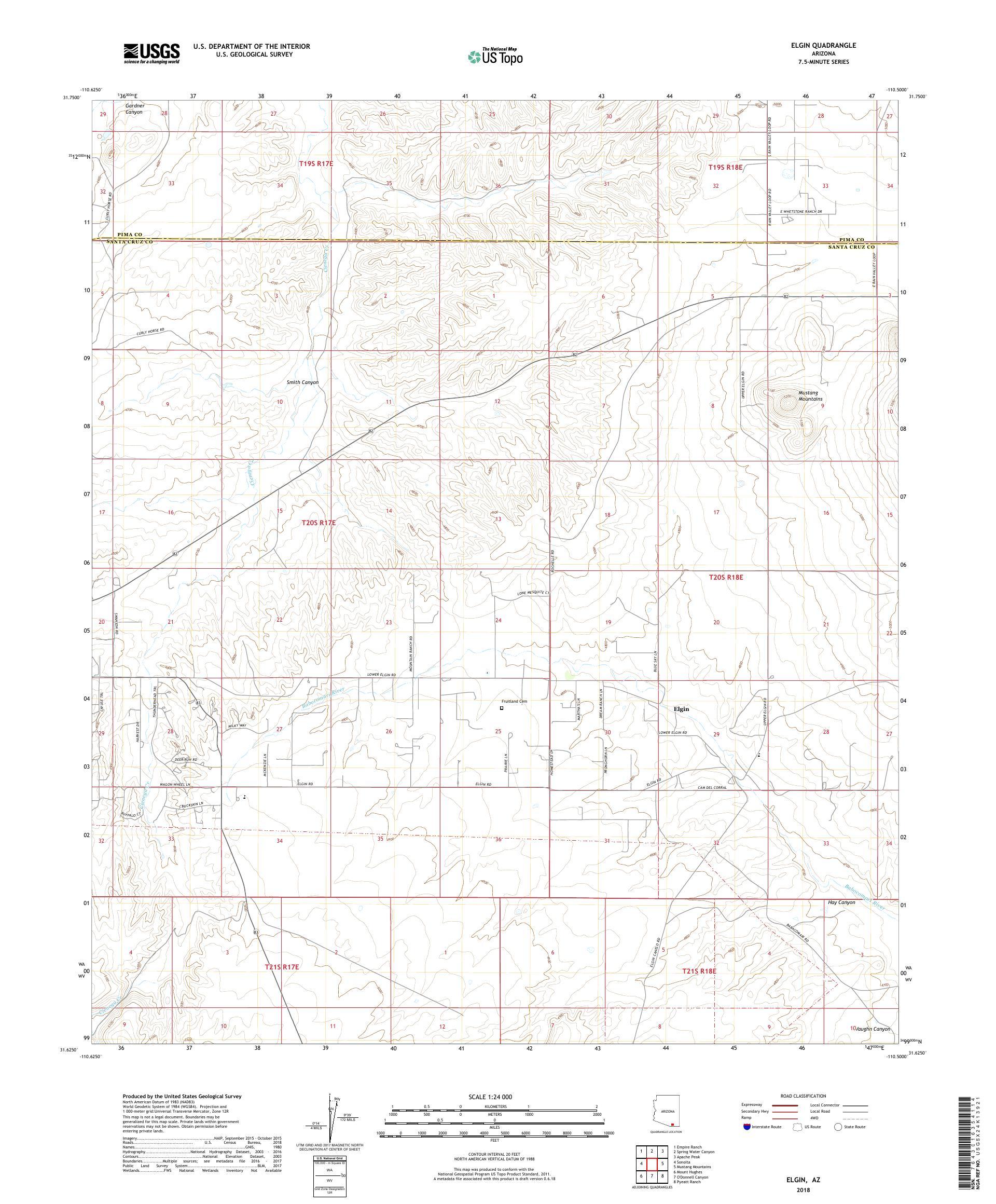 Map Of Elgin Arizona.Mytopo Elgin Arizona Usgs Quad Topo Map