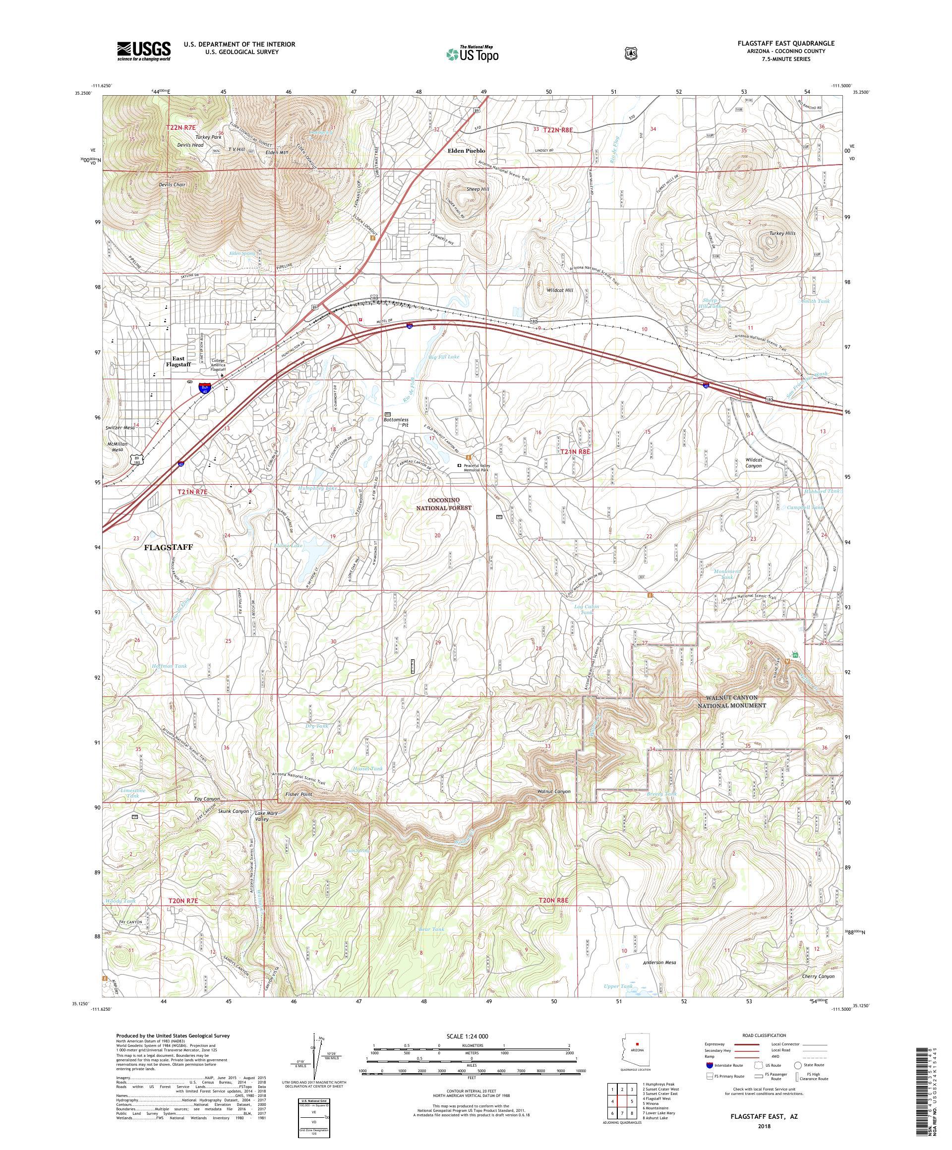 Map Of East Arizona.Mytopo Flagstaff East Arizona Usgs Quad Topo Map