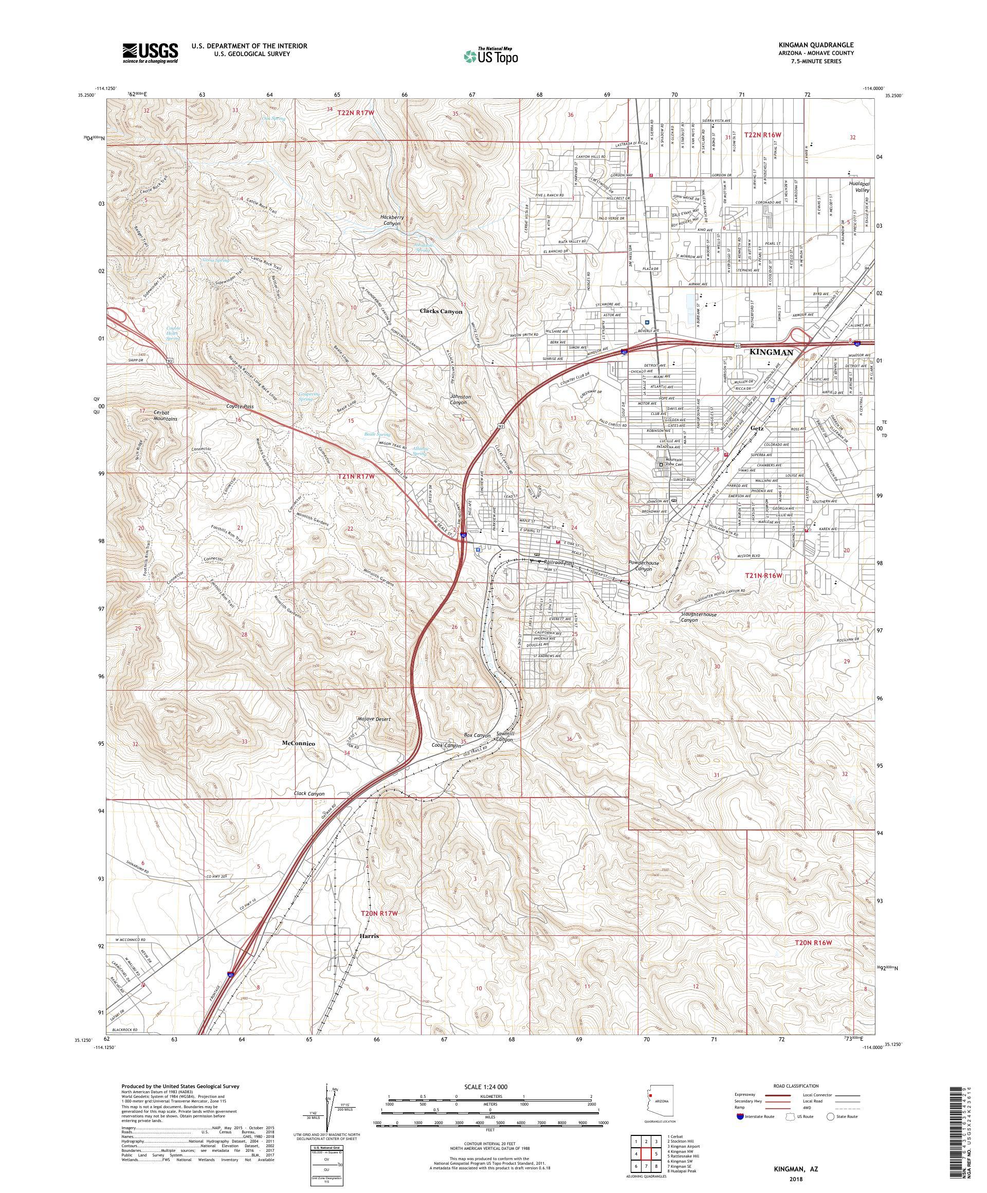 Map Of Arizona Kingman.Mytopo Kingman Arizona Usgs Quad Topo Map