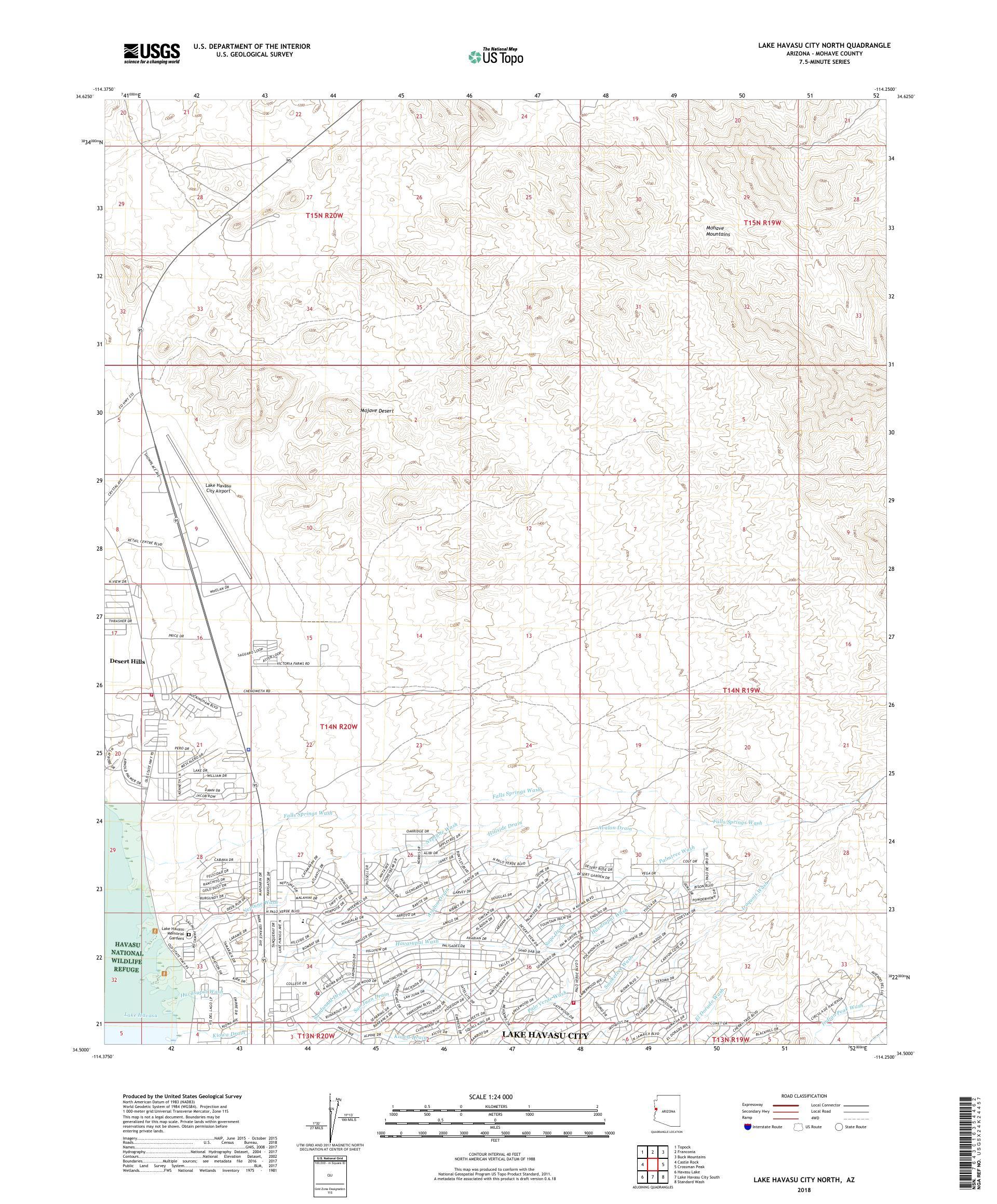 Map Of North Arizona.Mytopo Lake Havasu City North Arizona Usgs Quad Topo Map