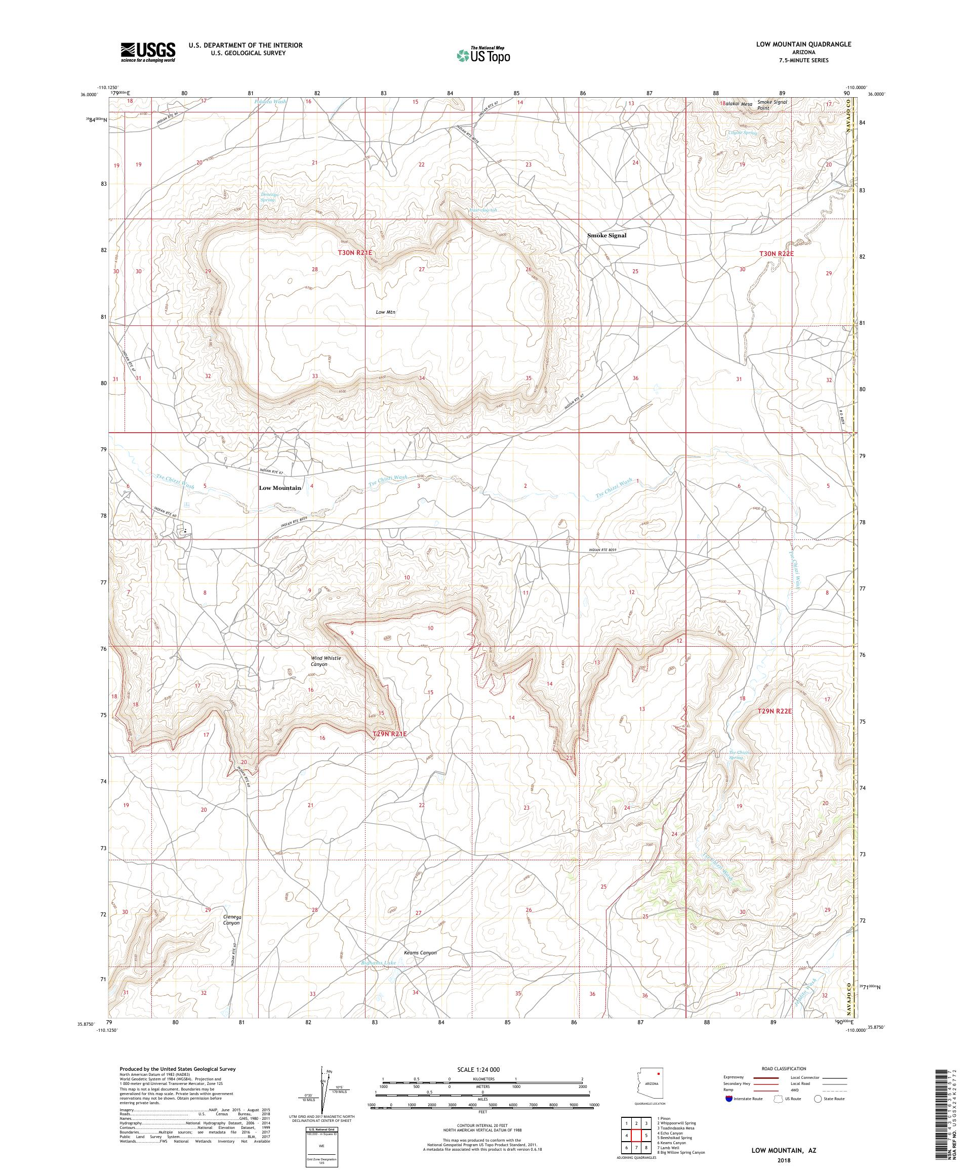MyTopo Low Mountain, Arizona USGS Quad Topo Map