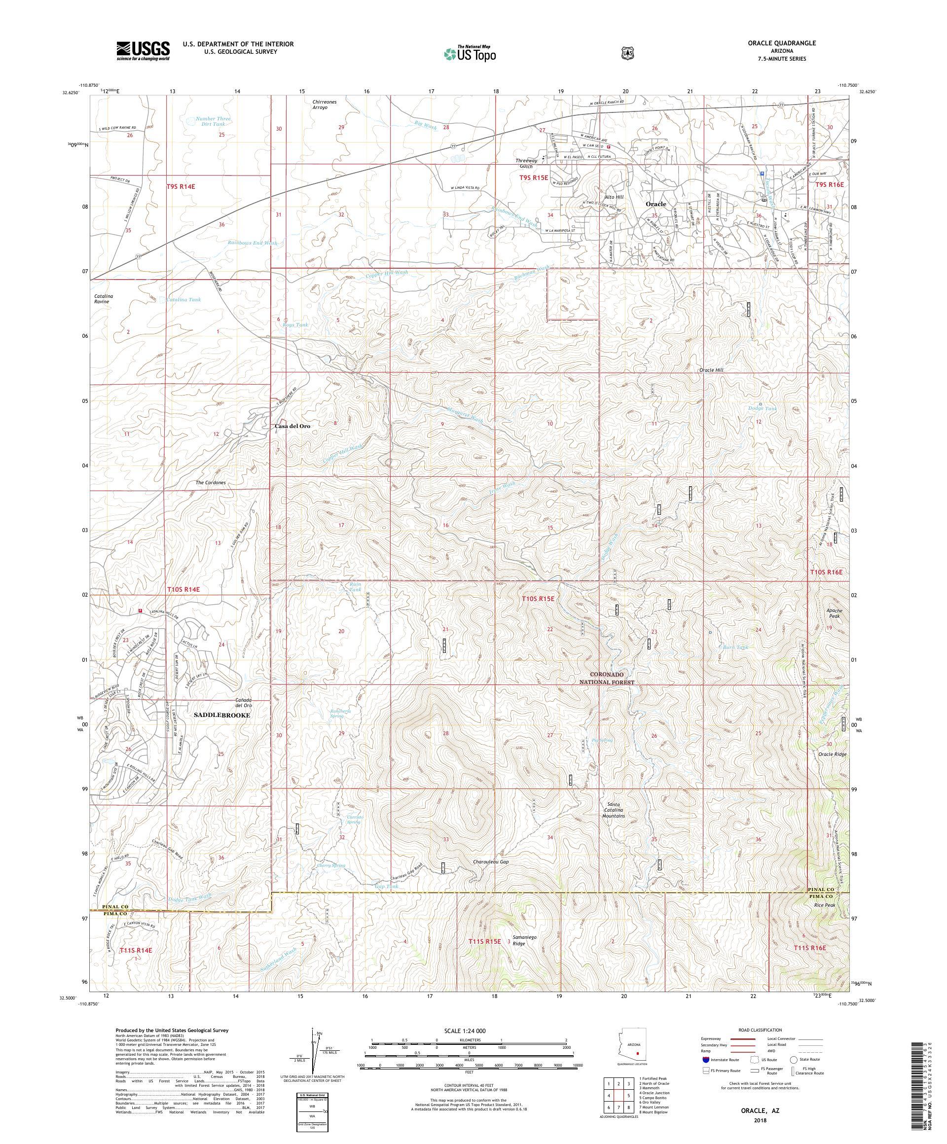 Map Of Oracle Arizona.Mytopo Oracle Arizona Usgs Quad Topo Map
