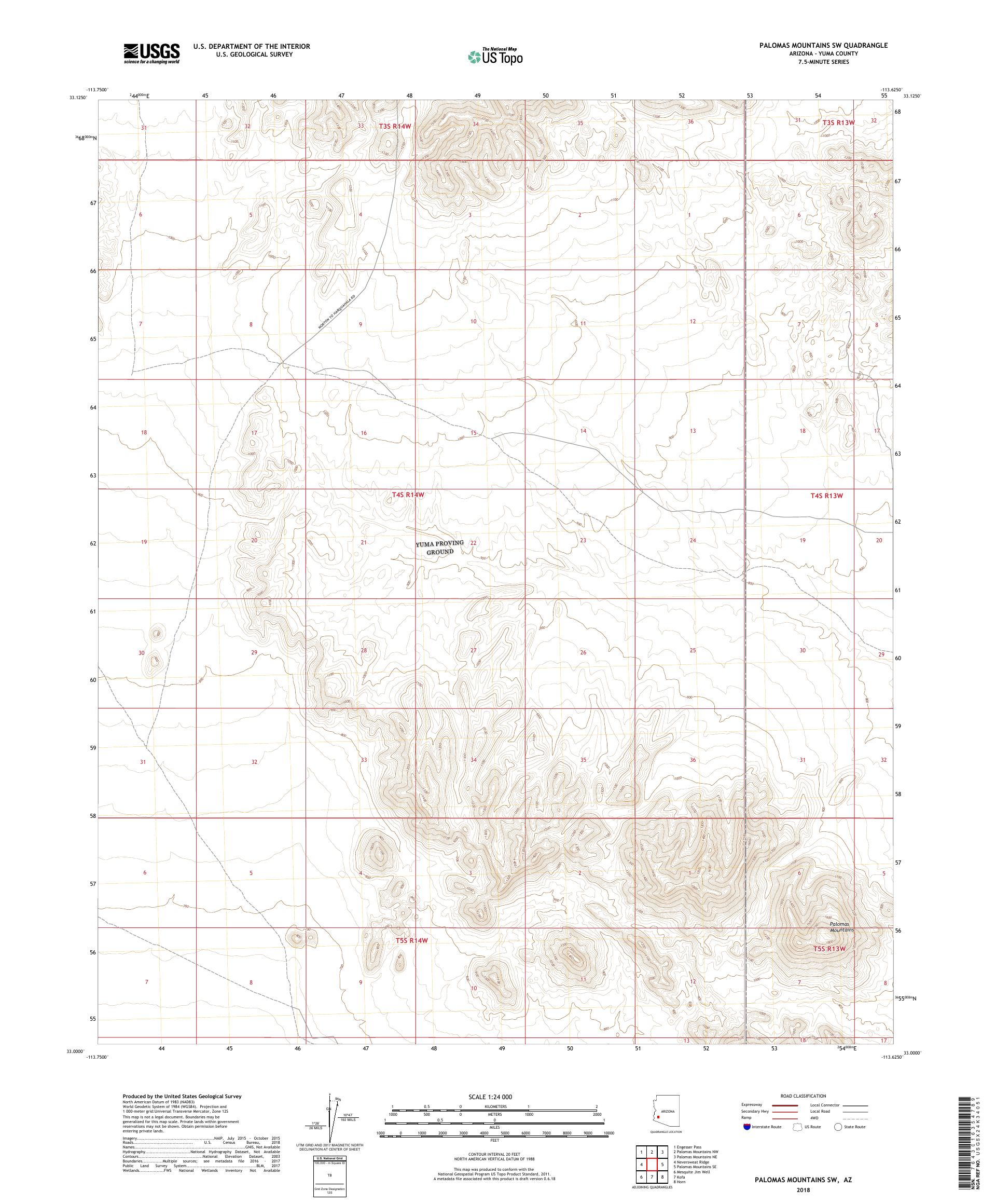 MyTopo Palomas Mountains SW, Arizona USGS Quad Topo Map