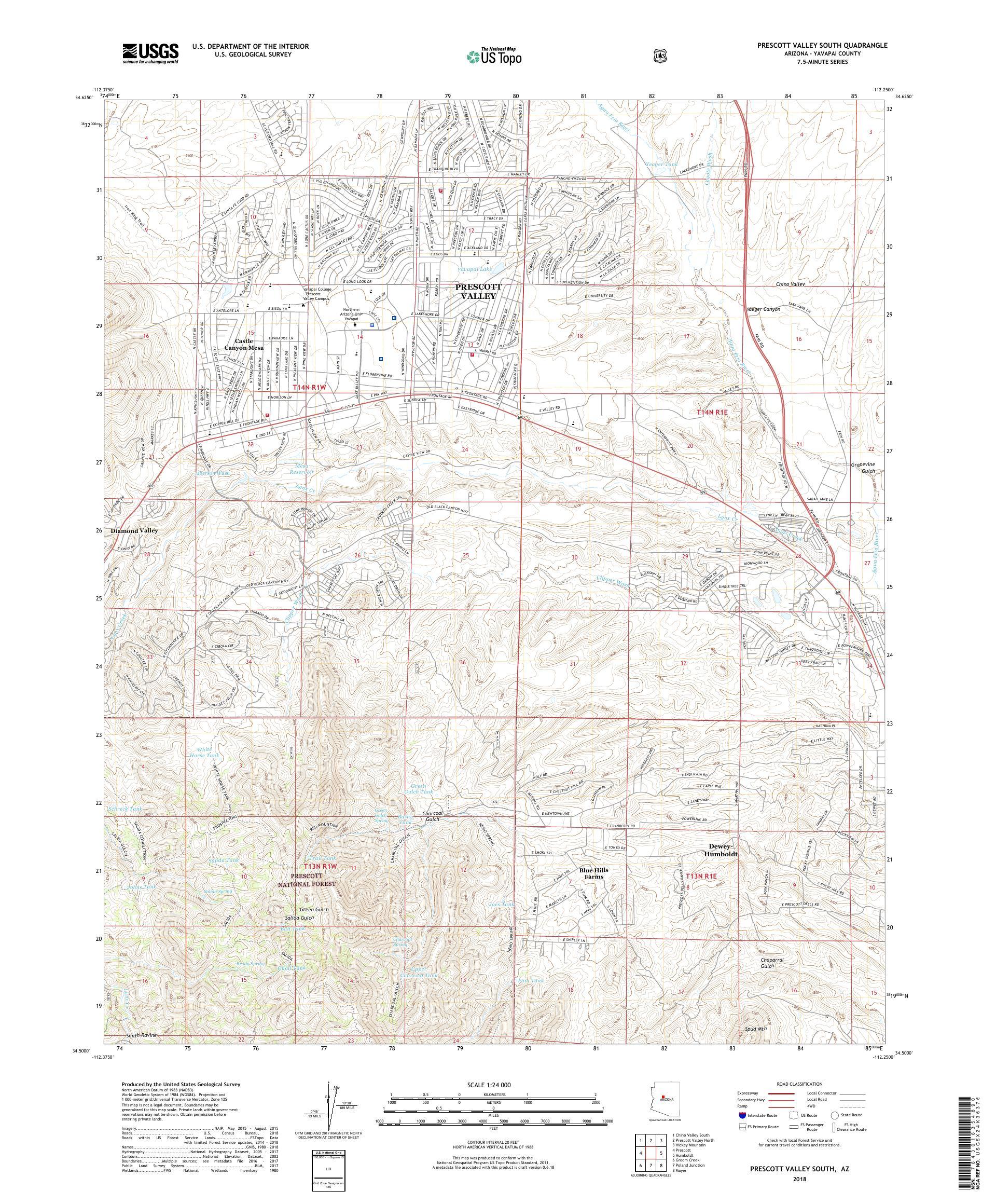 Map Of South Arizona.Mytopo Prescott Valley South Arizona Usgs Quad Topo Map