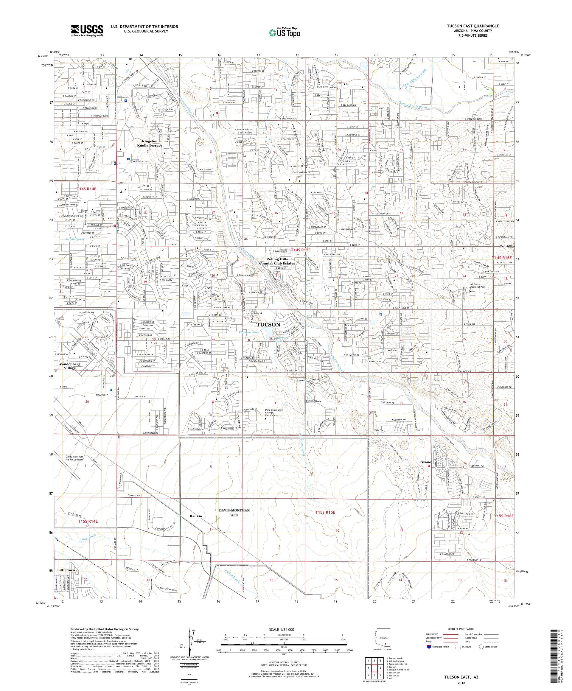 Map Of East Arizona.Mytopo Tucson East Arizona Usgs Quad Topo Map