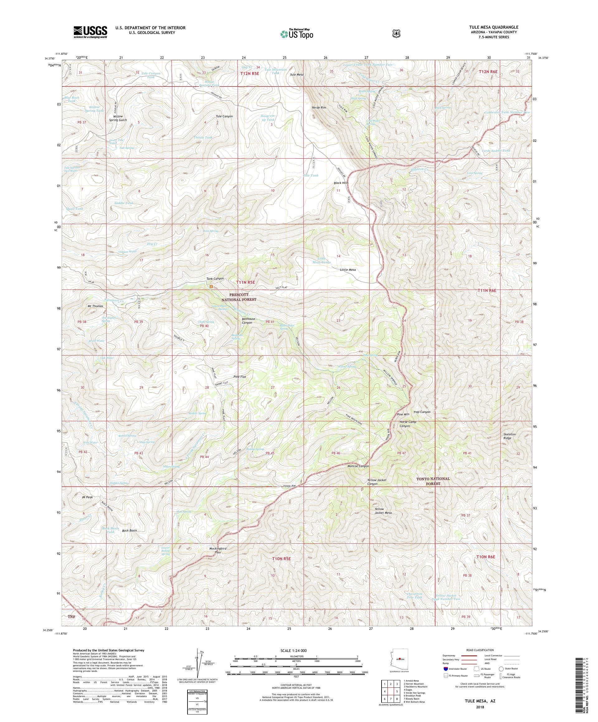 MyTopo Tule Mesa, Arizona USGS Quad Topo Map