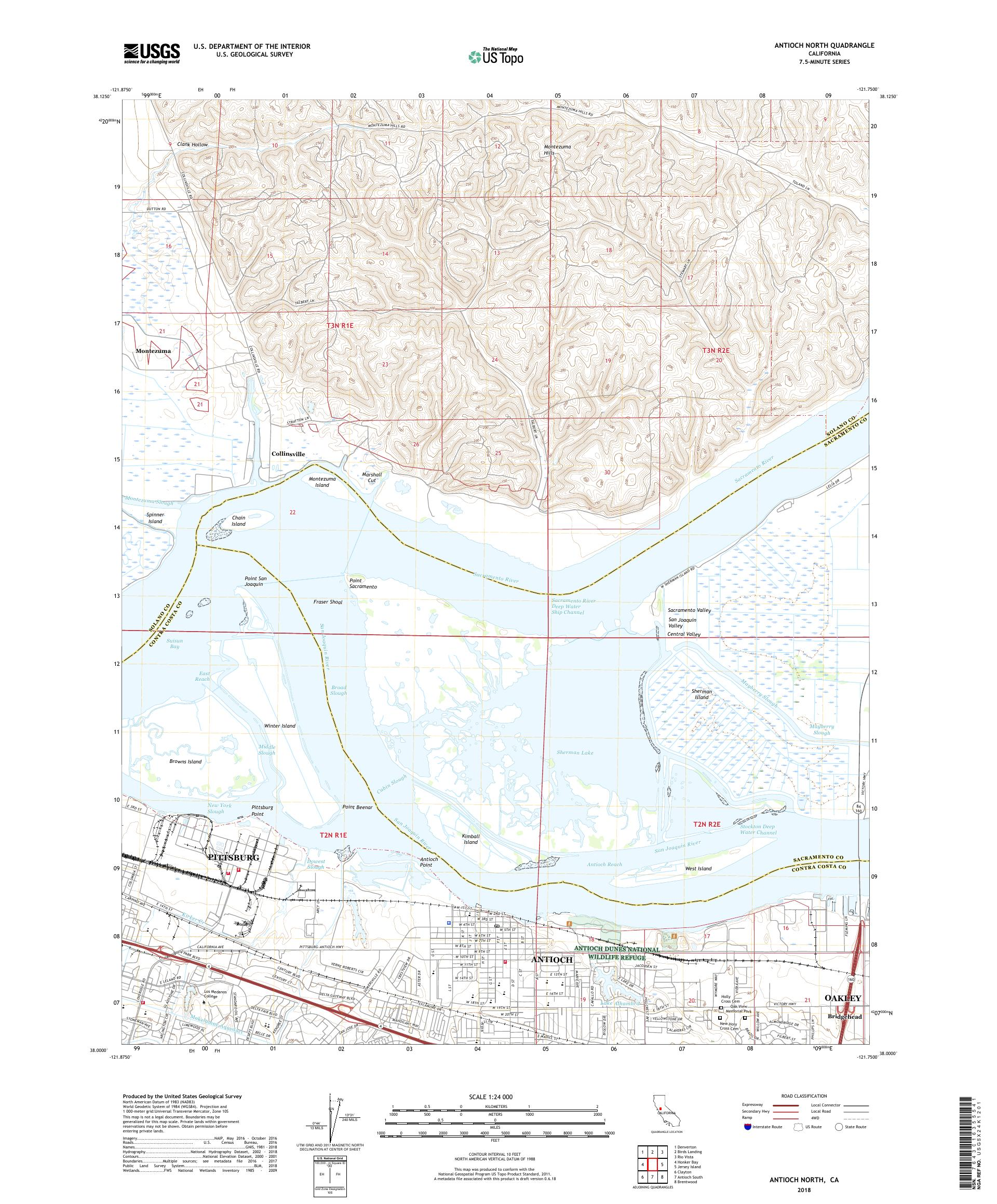 MyTopo Antioch North, California USGS Quad Topo Map