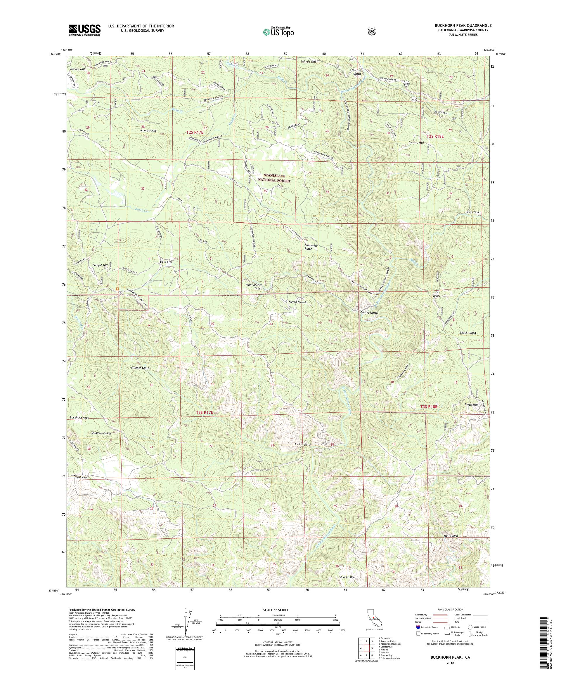 MyTopo Buckhorn Peak, California USGS Quad Topo Map