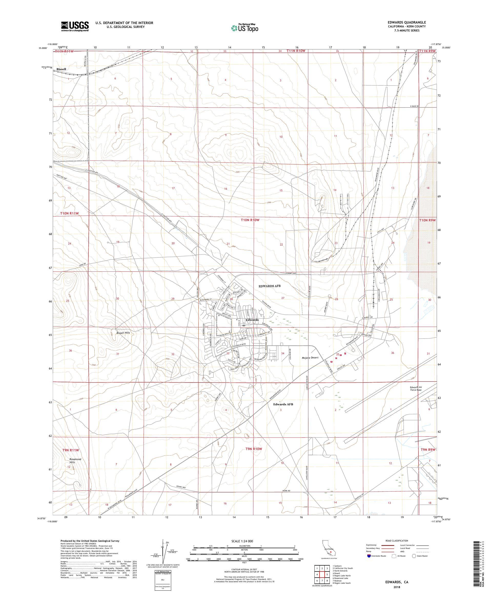 MyTopo Edwards, California USGS Quad Topo Map on