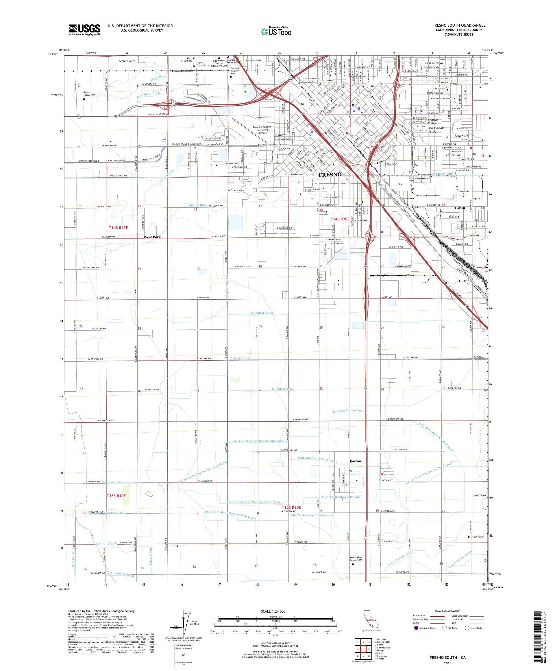 Map Of California Fresno.Mytopo Fresno South California Usgs Quad Topo Map