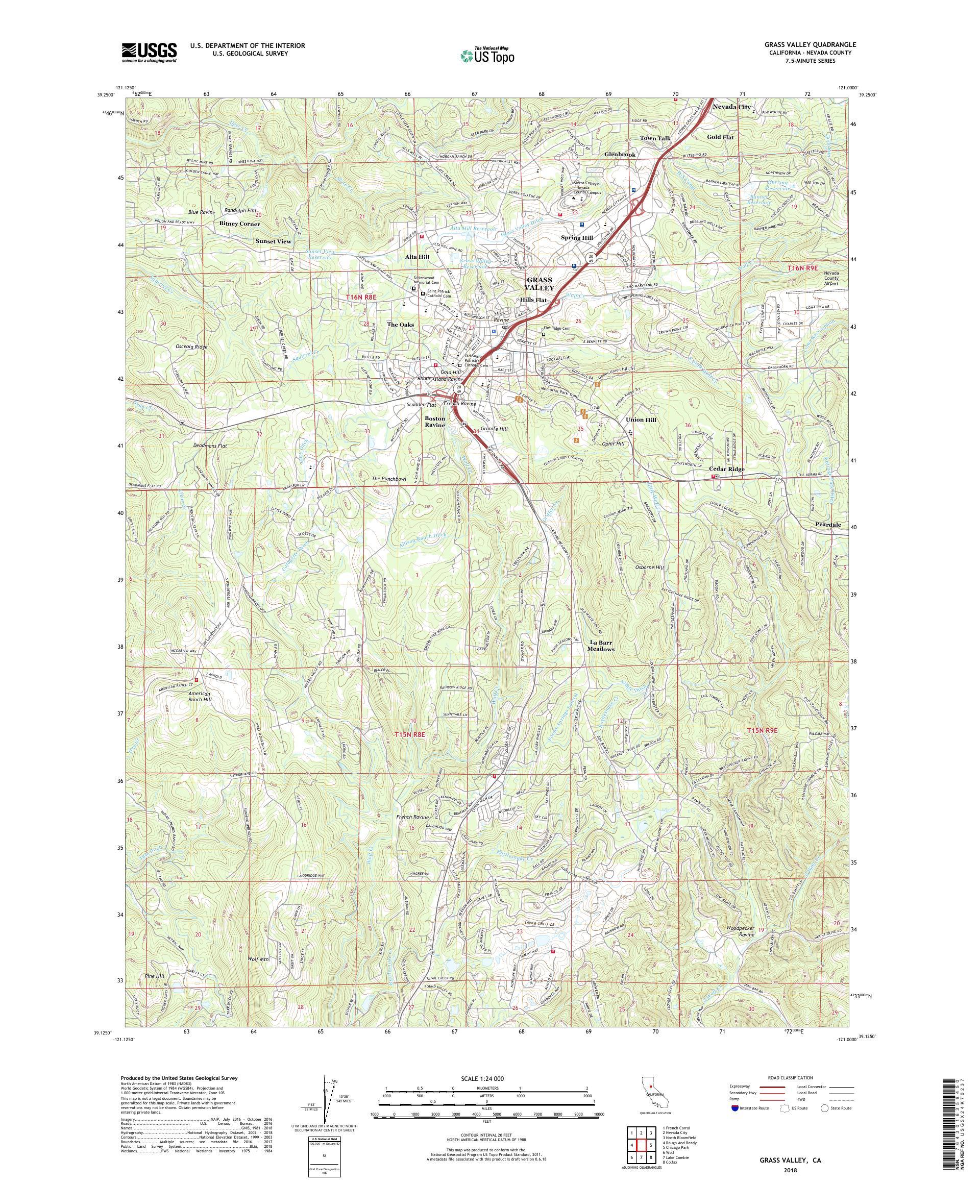 MyTopo Grass Valley, California USGS Quad Topo Map
