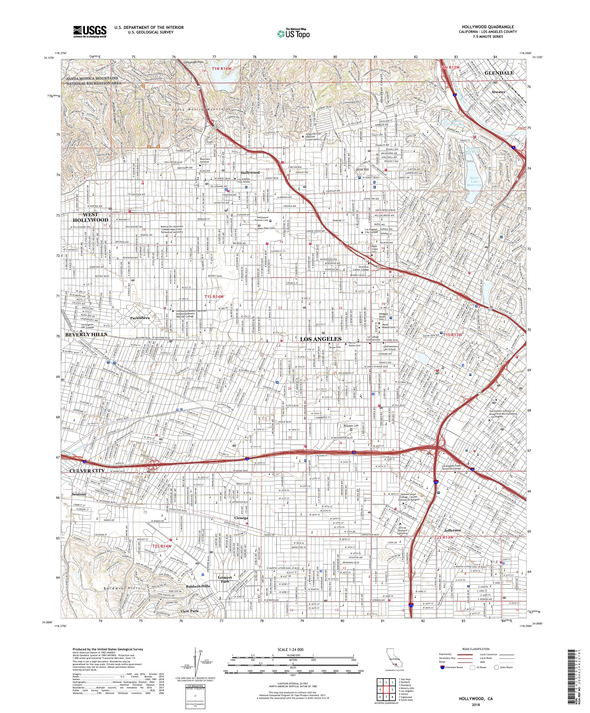 Map Of California Hollywood.Mytopo Hollywood California Usgs Quad Topo Map