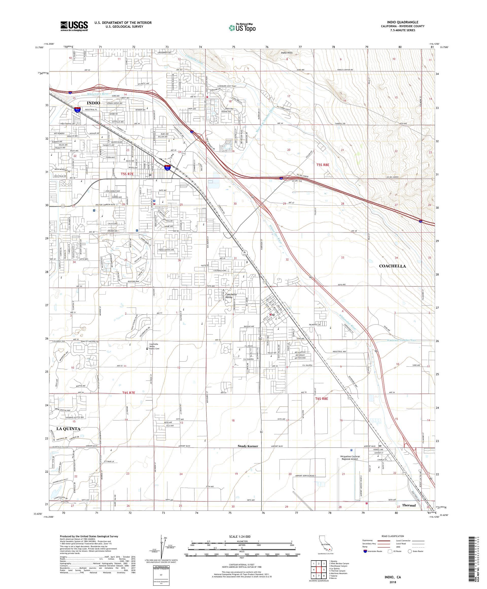 MyTopo Indio, California USGS Quad Topo Map