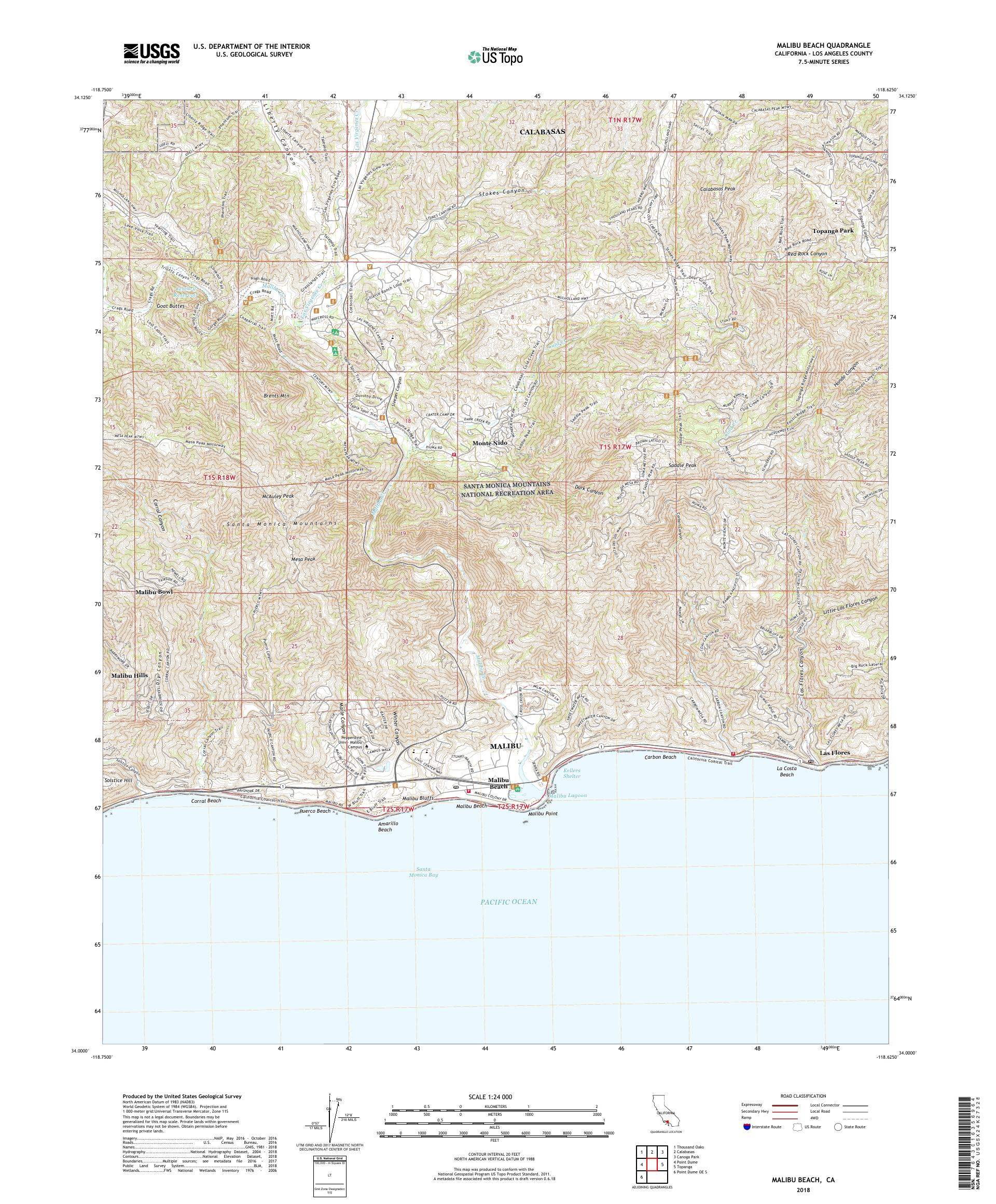 Map Of California Malibu.Mytopo Malibu Beach California Usgs Quad Topo Map