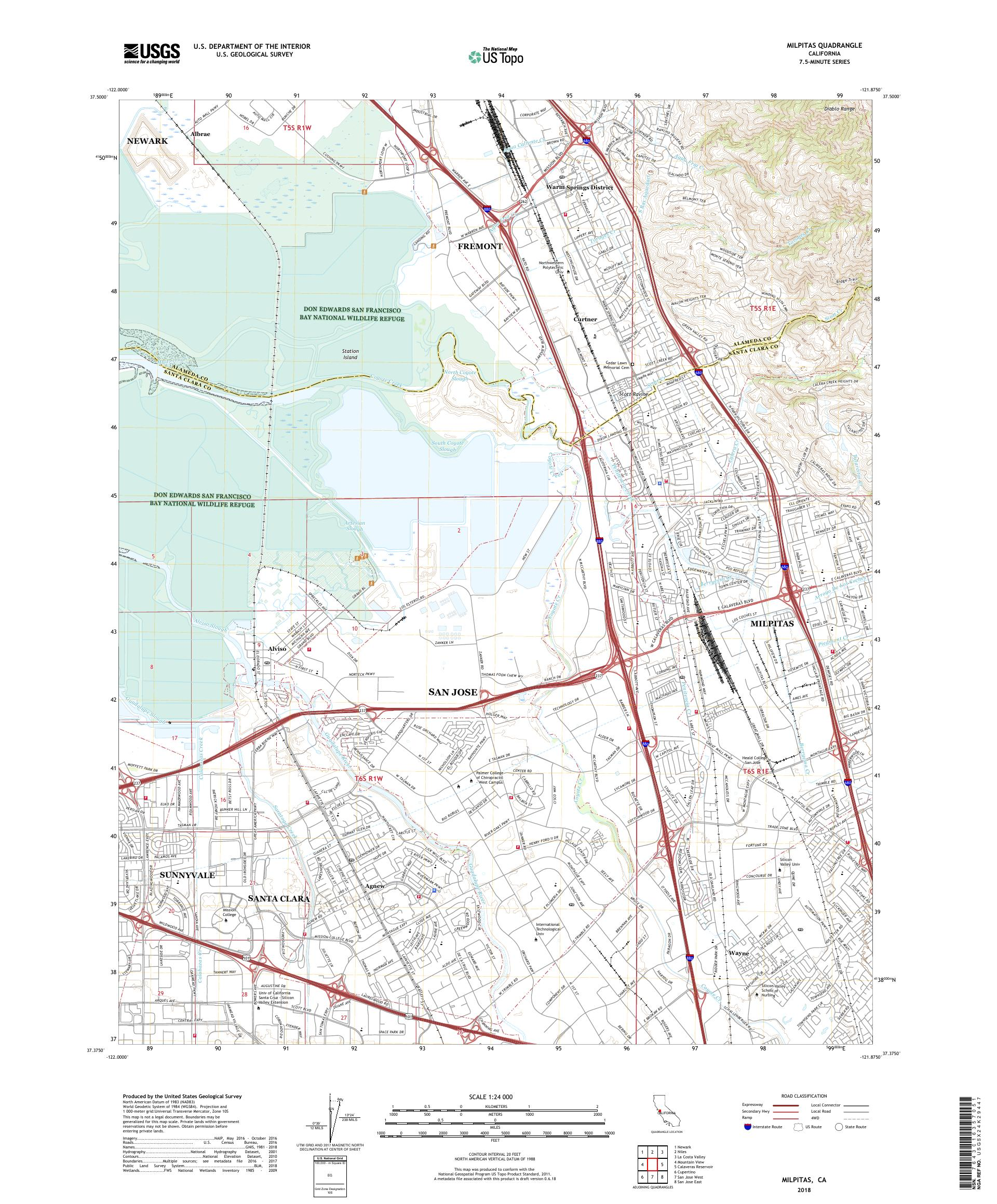 MyTopo Milpitas, California USGS Quad Topo Map