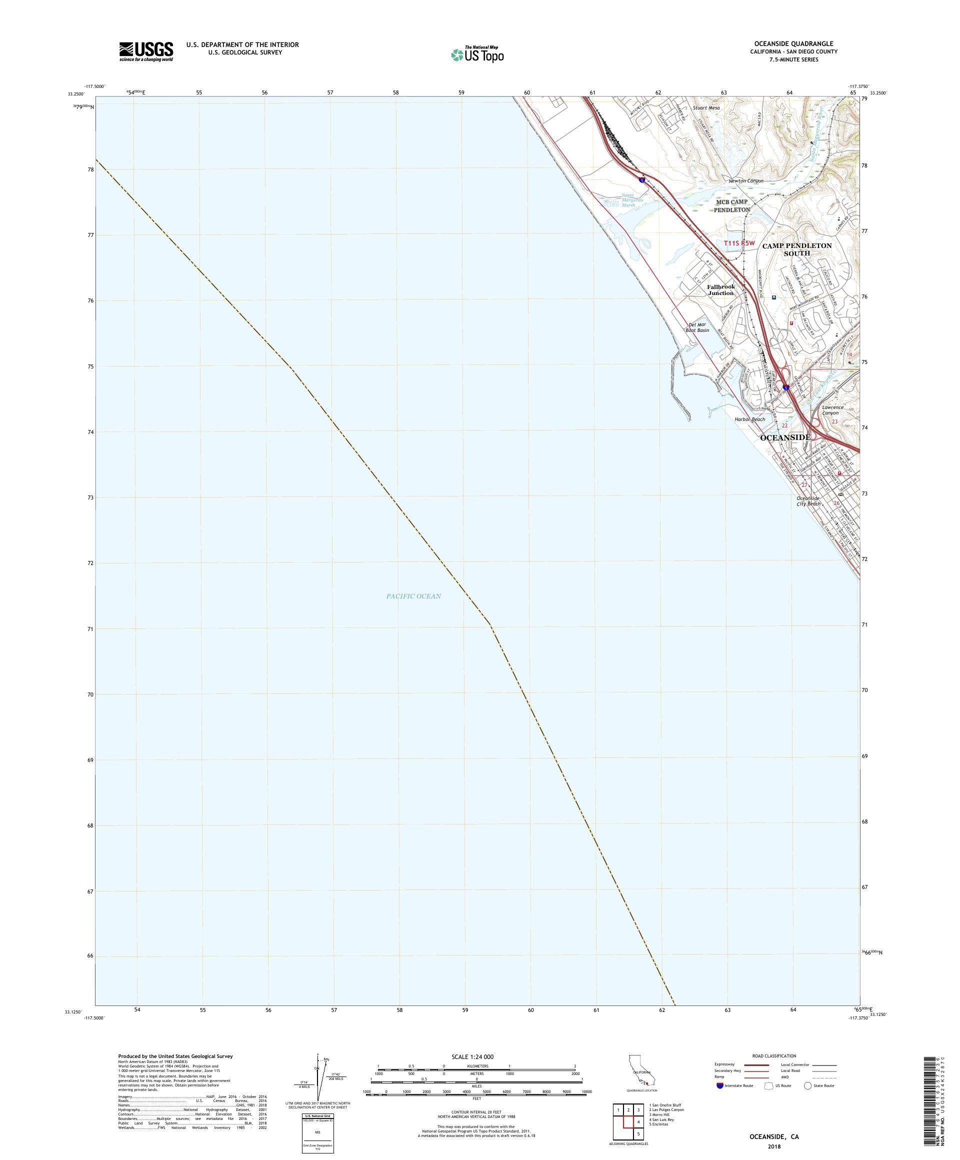 MyTopo Oceanside, California USGS Quad Topo Map