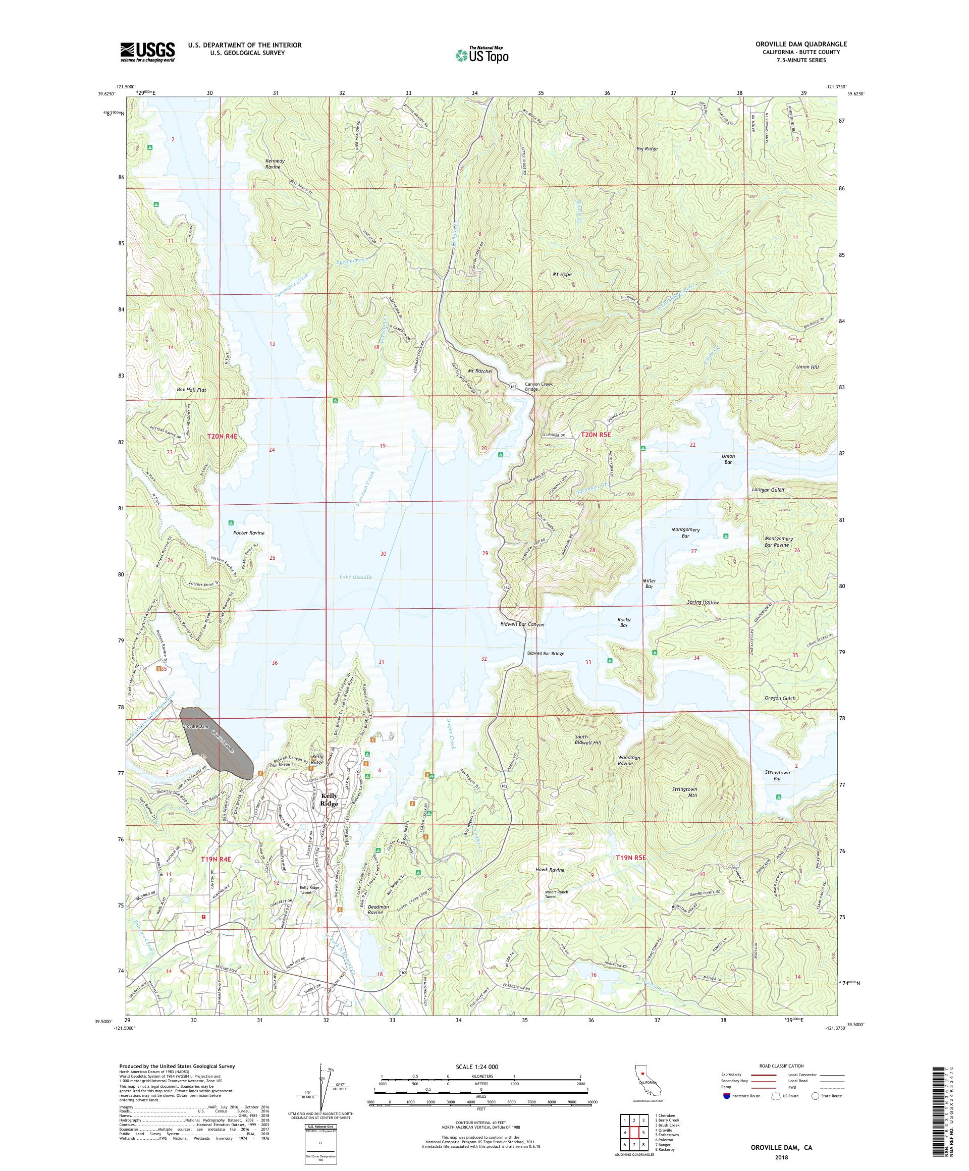 Map Of California Oroville Dam.Mytopo Oroville Dam California Usgs Quad Topo Map