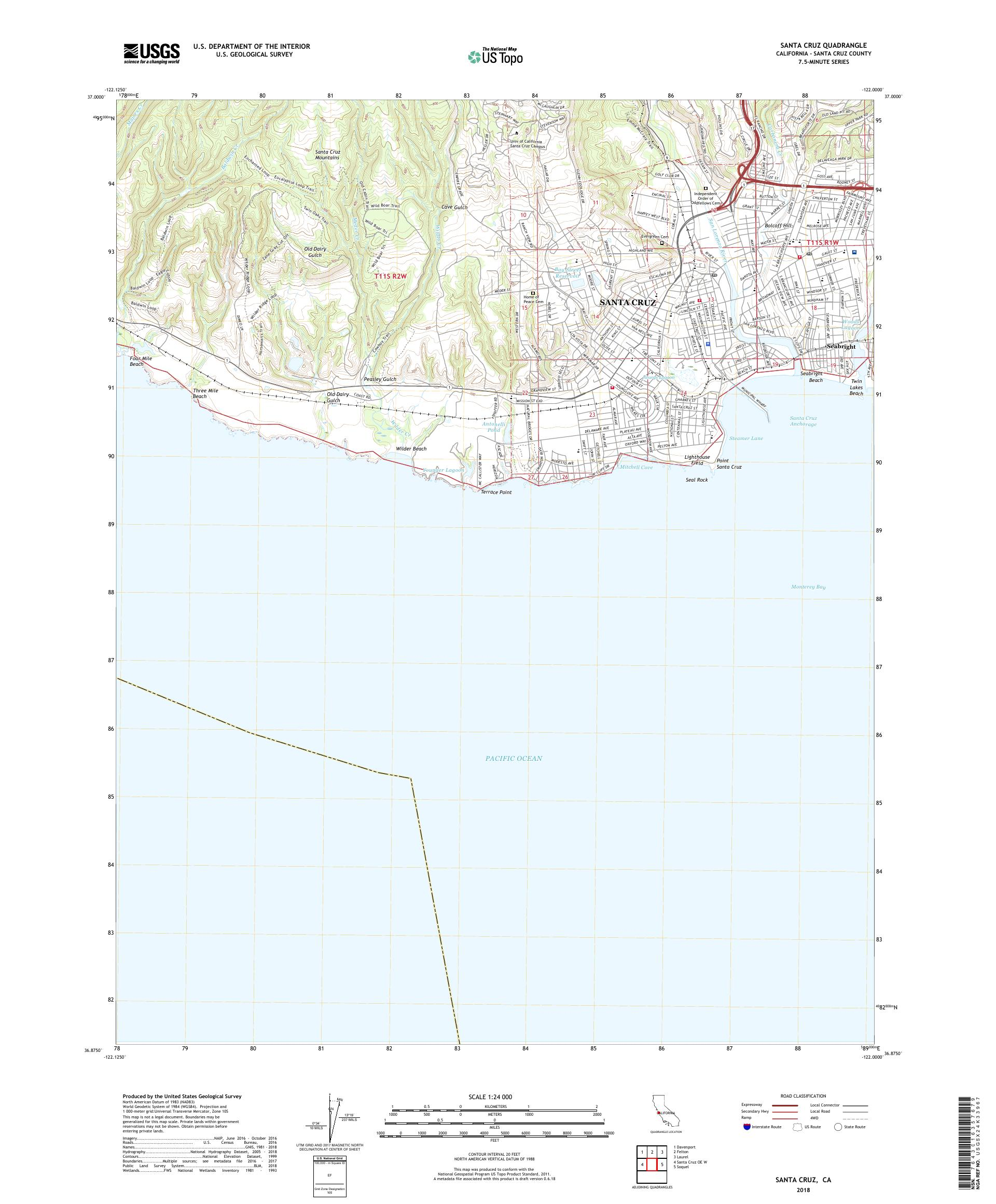 Santa Cruz California Map.Mytopo Santa Cruz California Usgs Quad Topo Map