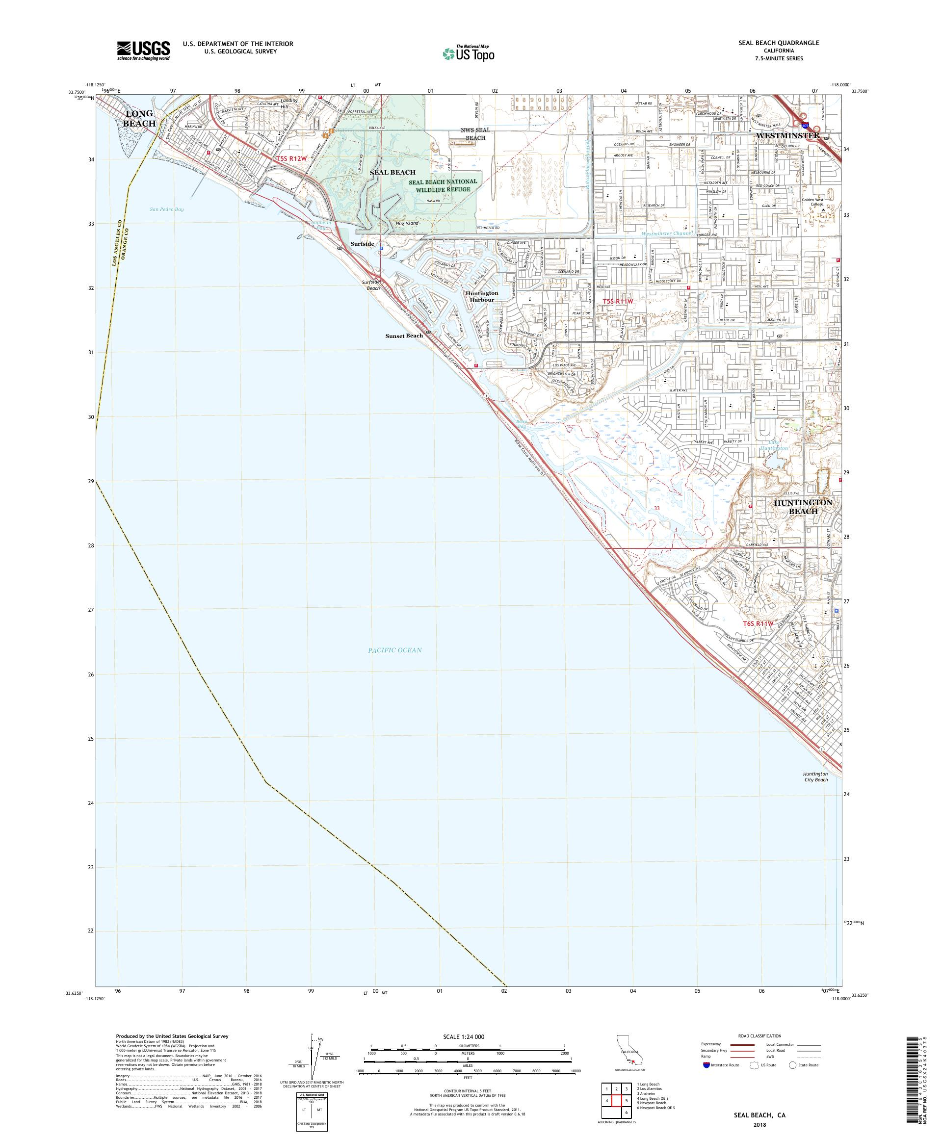 MyTopo Seal Beach, California USGS Quad Topo Map