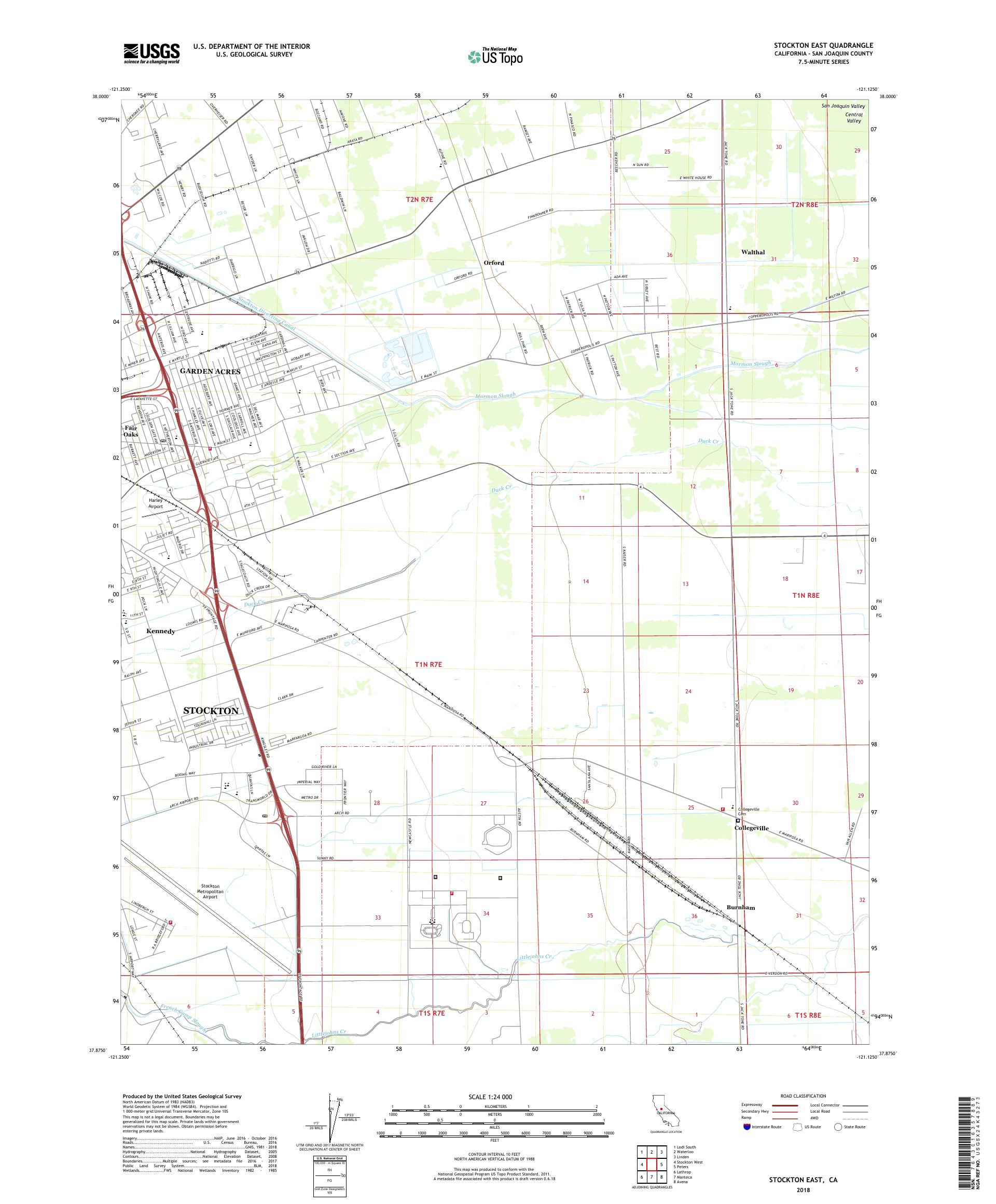 MyTopo Stockton East, California USGS Quad Topo Map