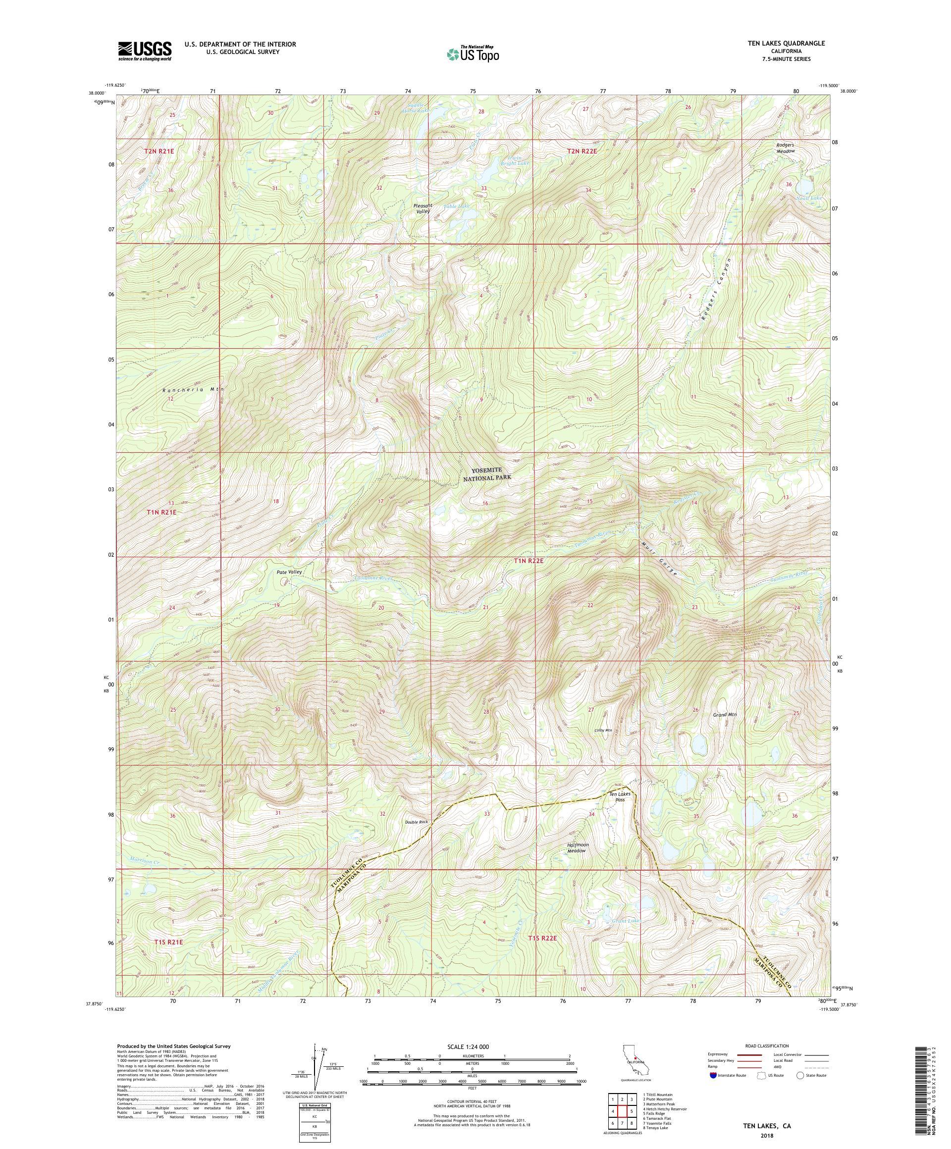 Map Of California Lakes.Mytopo Ten Lakes California Usgs Quad Topo Map