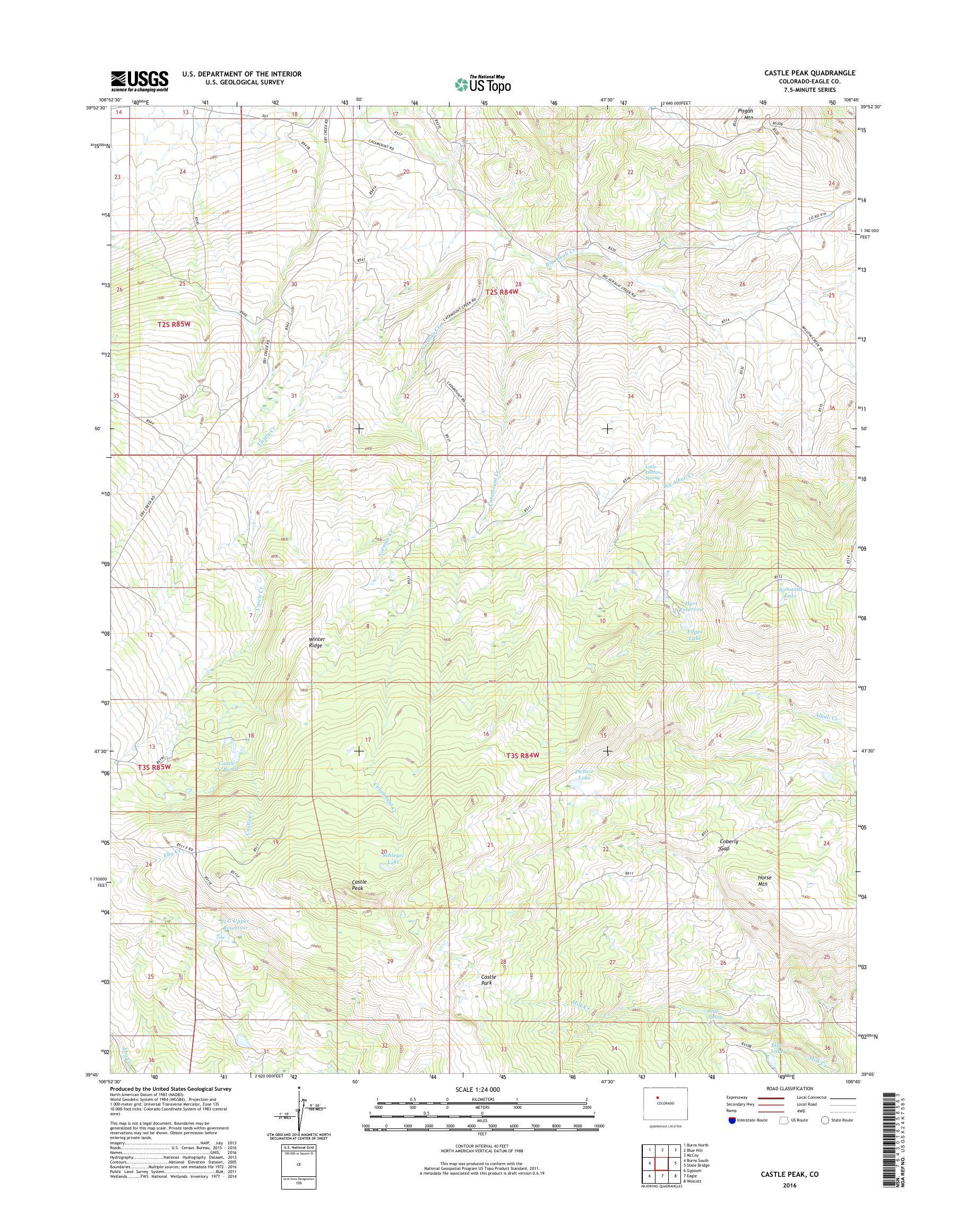MyTopo Castle Peak, Colorado USGS Quad Topo Map on