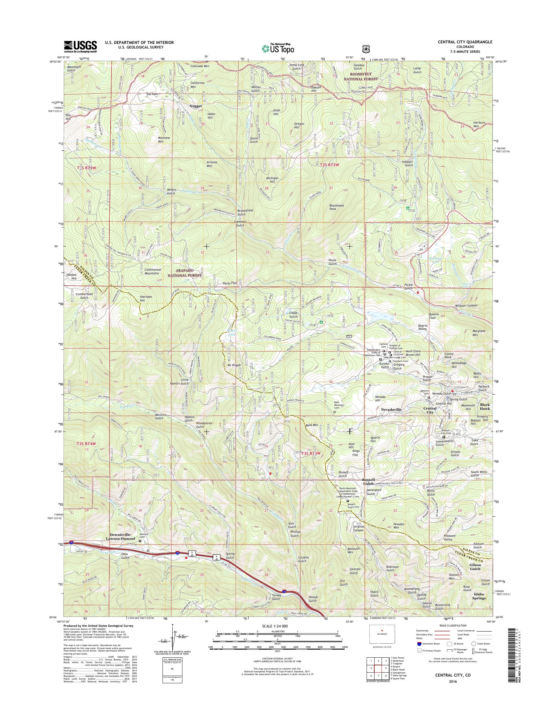 Mytopo Central City Colorado Usgs Quad Topo Map