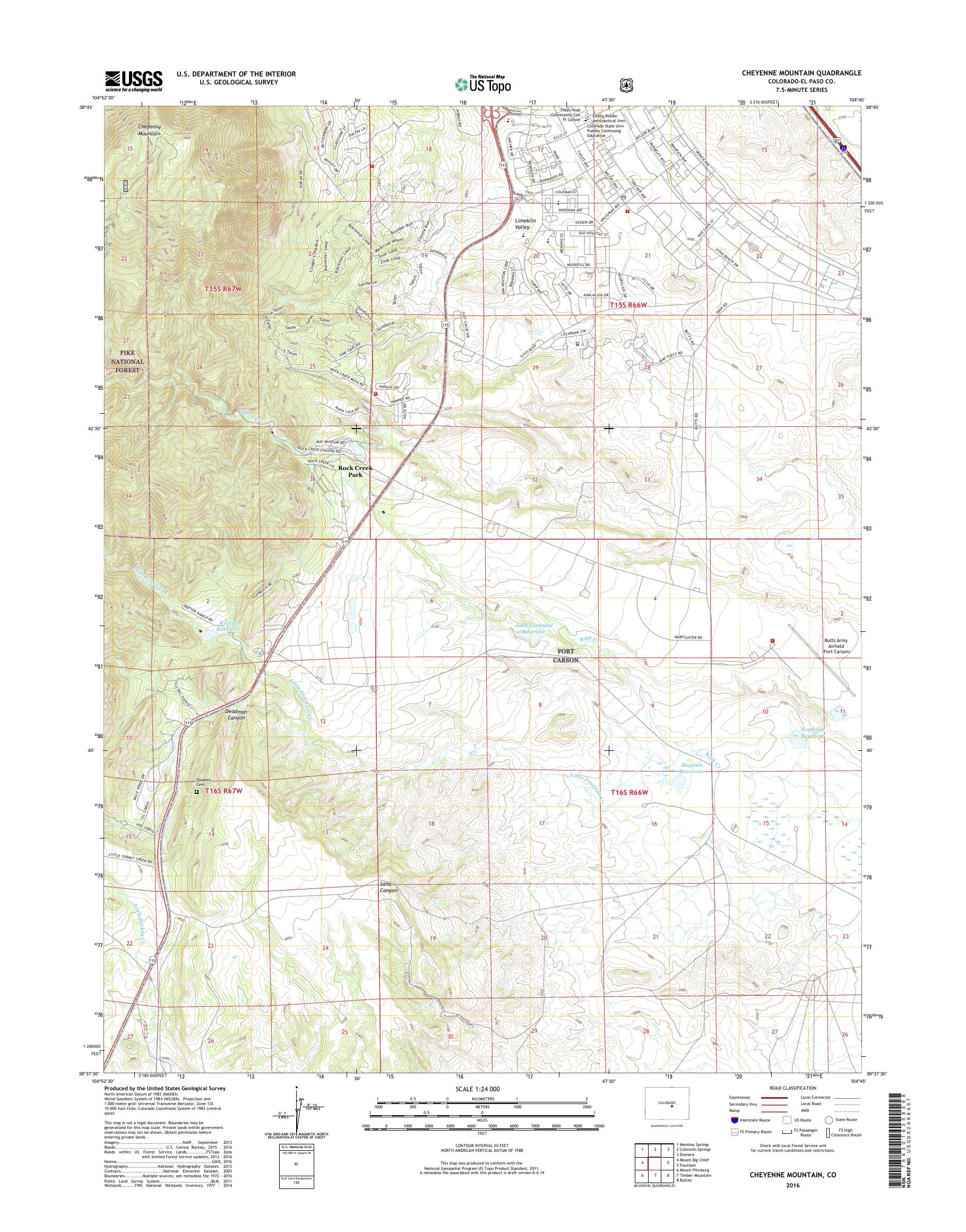 MyTopo Cheyenne Mountain, Colorado USGS Quad Topo Map on