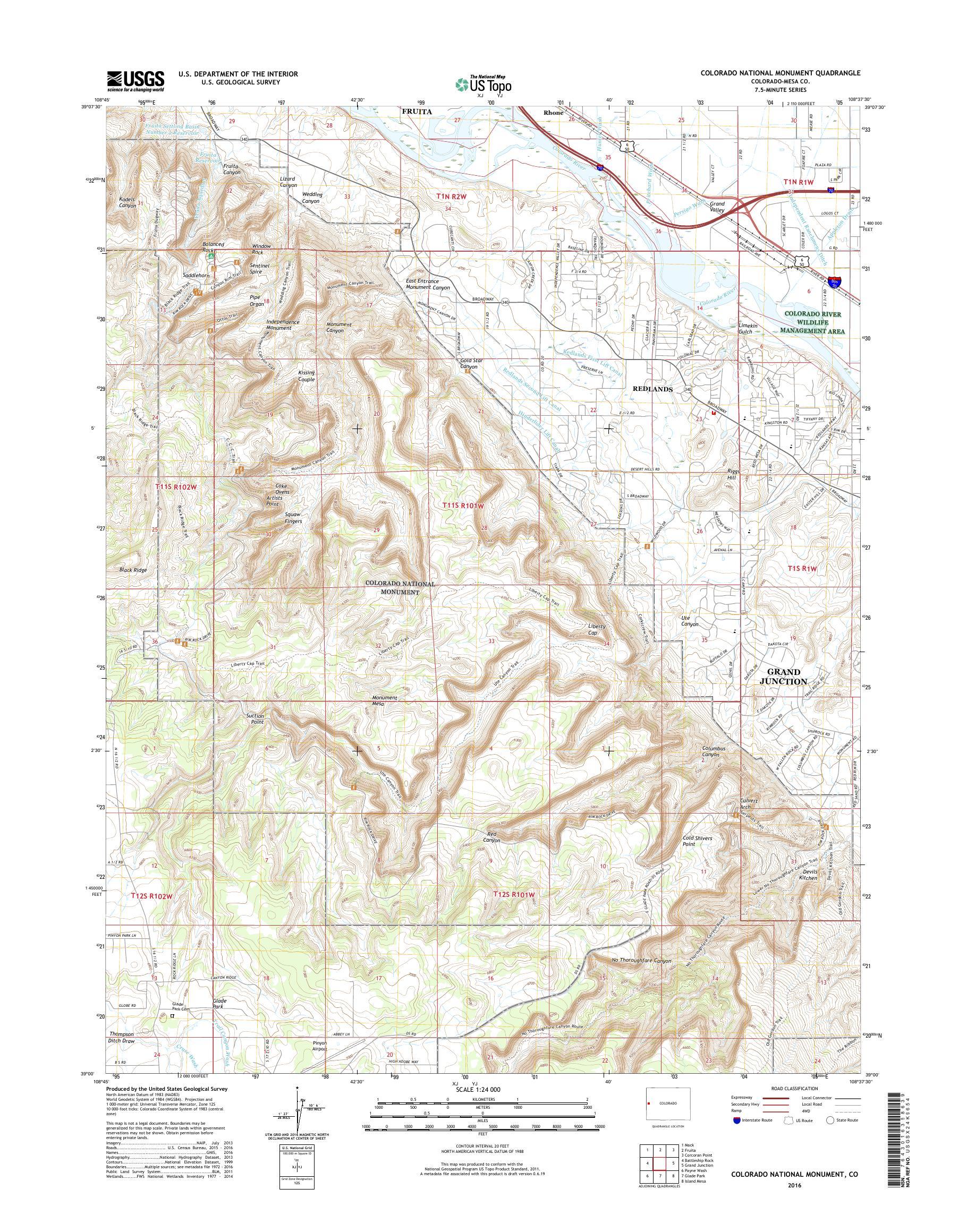 MyTopo Colorado National Monument, Colorado USGS Quad Topo Map