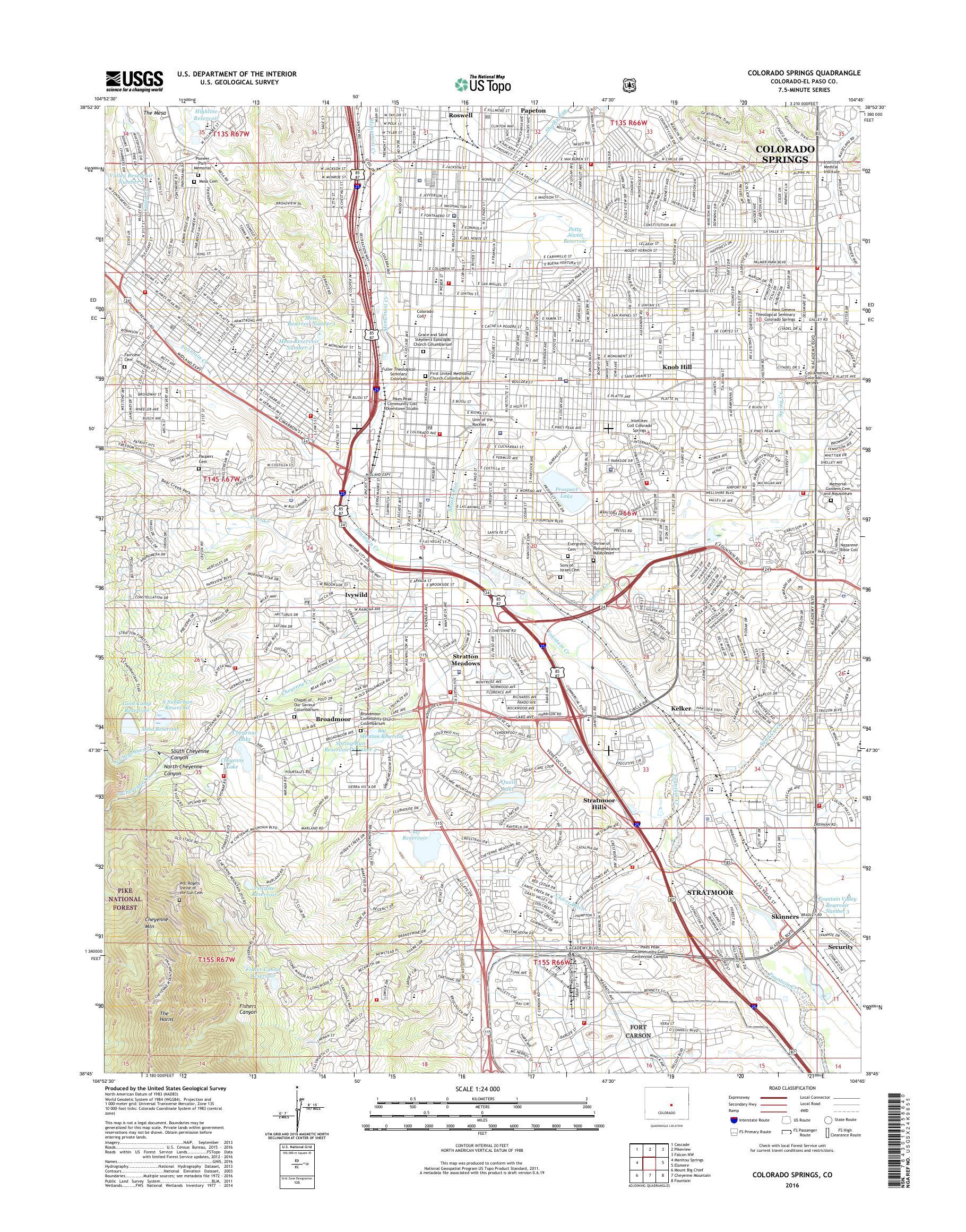 MyTopo Colorado Springs, Colorado USGS Quad Topo Map