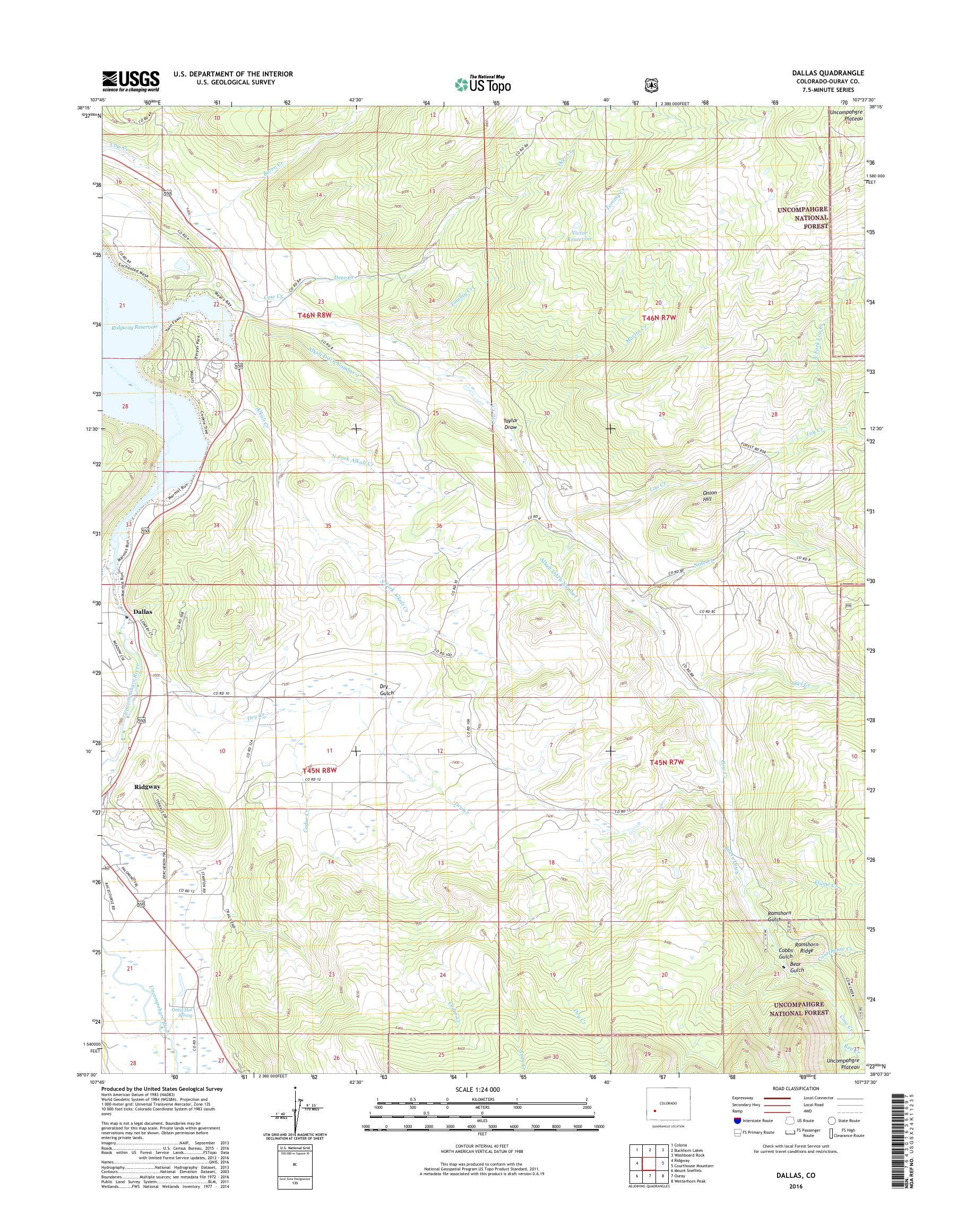MyTopo Dallas, Colorado USGS Quad Topo Map on
