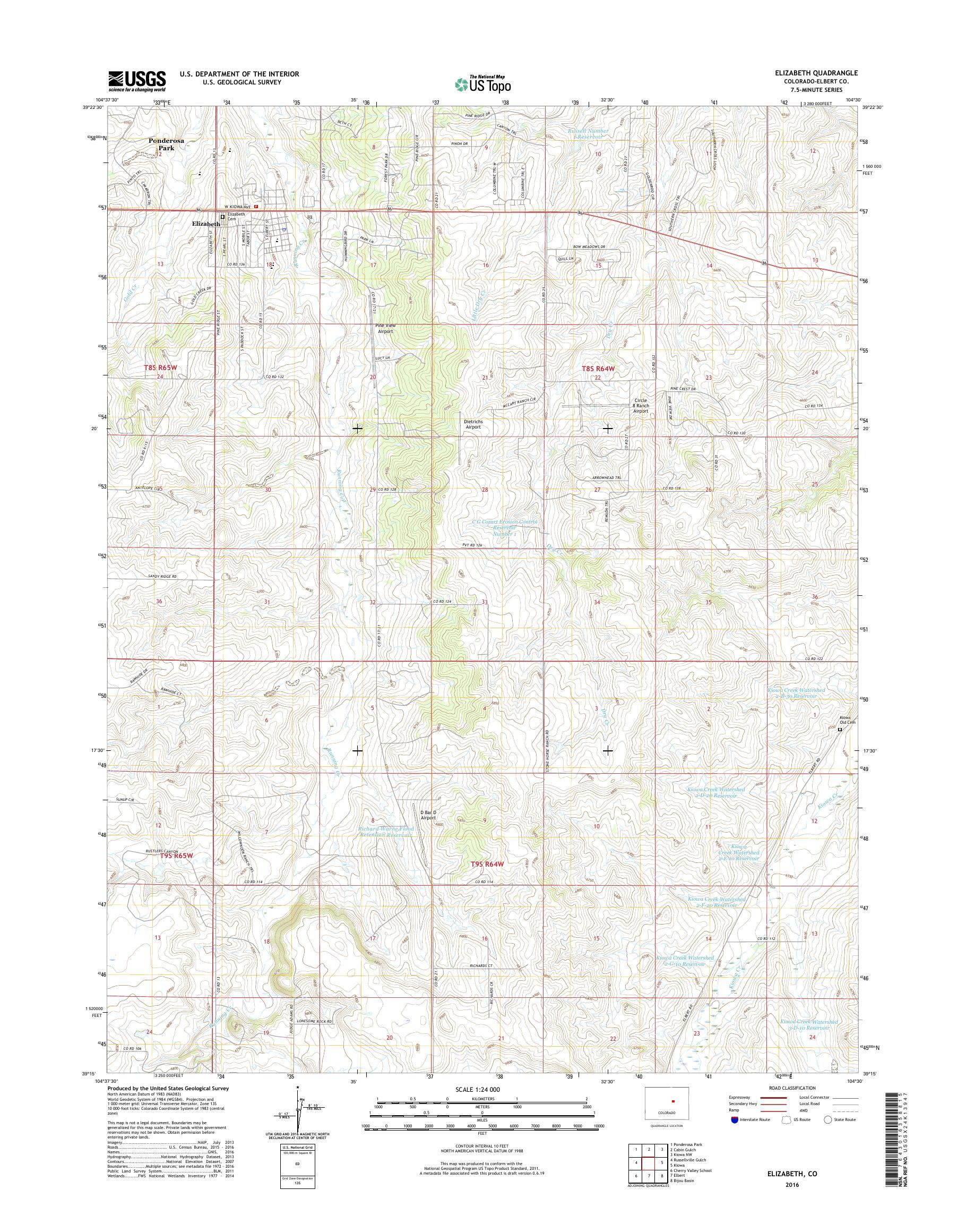Mytopo Elizabeth Colorado Usgs Quad Topo Map