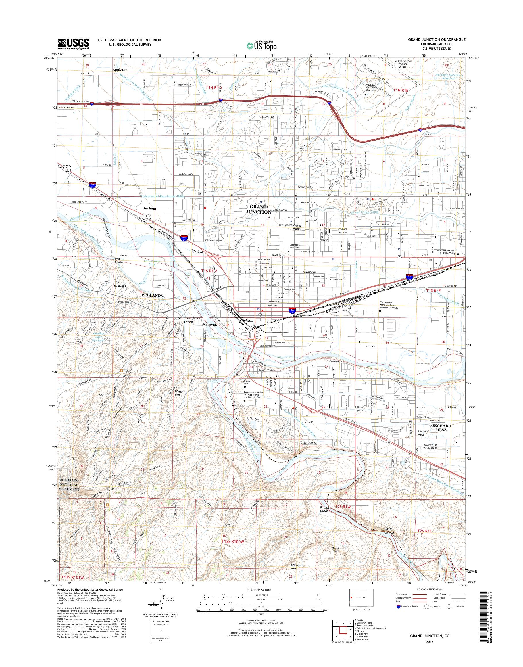 MyTopo Grand Junction, Colorado USGS Quad Topo Map