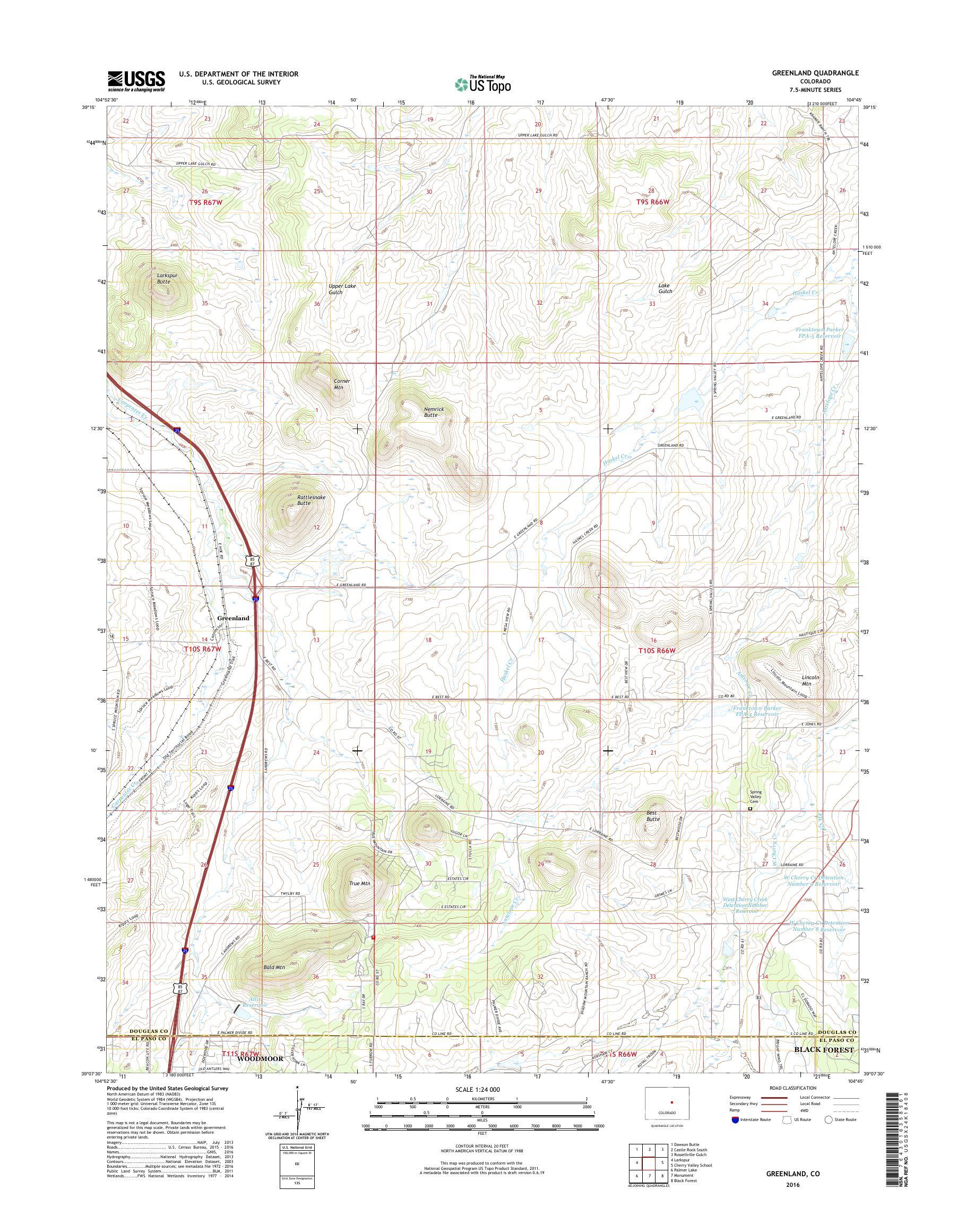 MyTopo Greenland, Colorado USGS Quad Topo Map