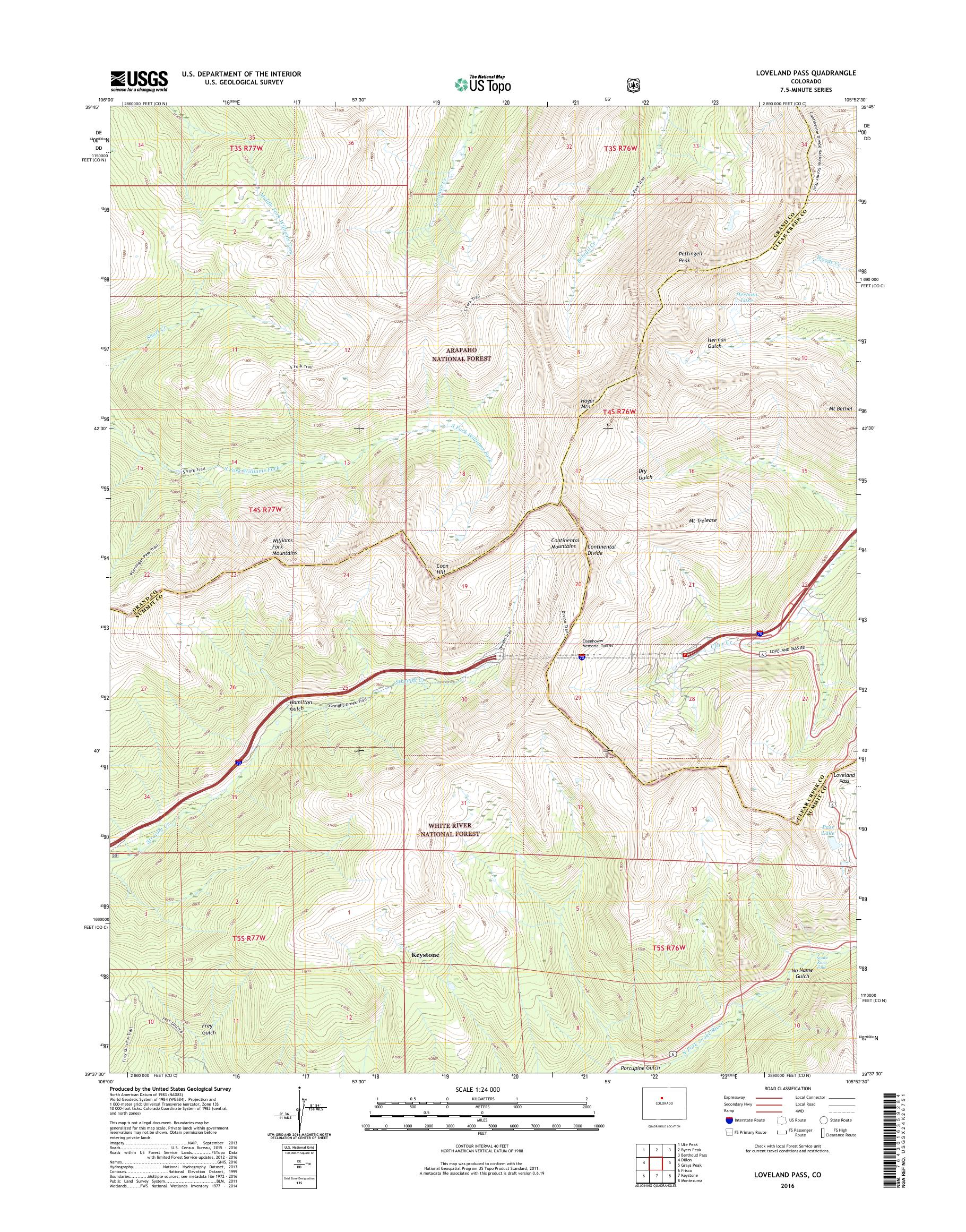 MyTopo Loveland Pass, Colorado USGS Quad Topo Map