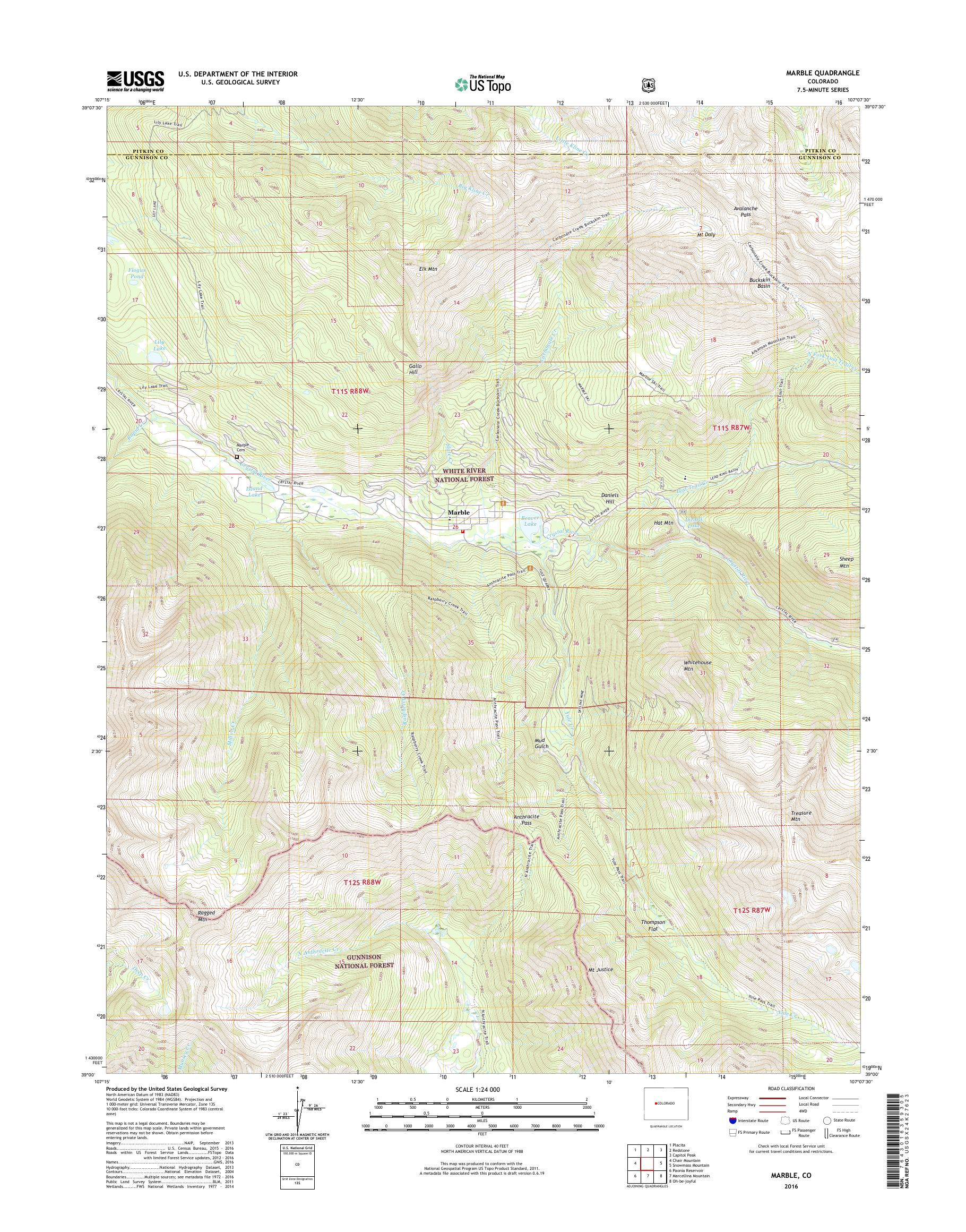 Mytopo Marble Colorado Usgs Quad Topo Map